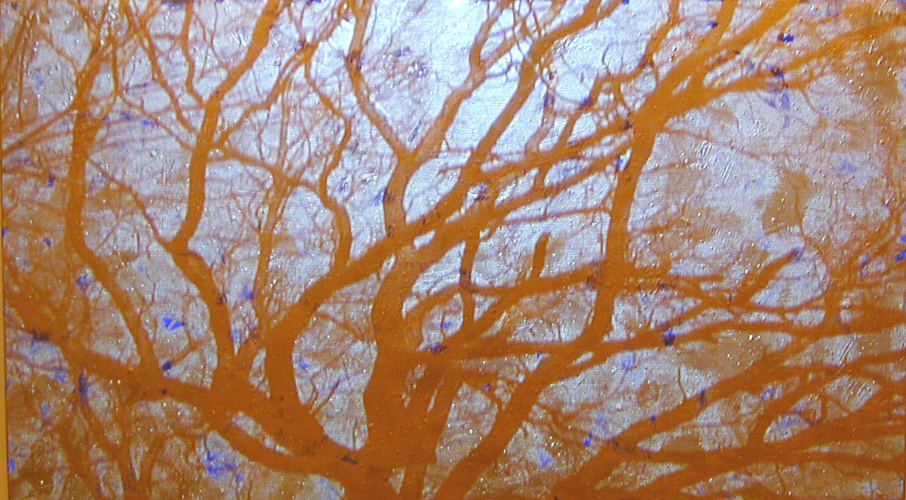 Gold / Blue Sky, 2003, Video projection, oil and enamel on linen