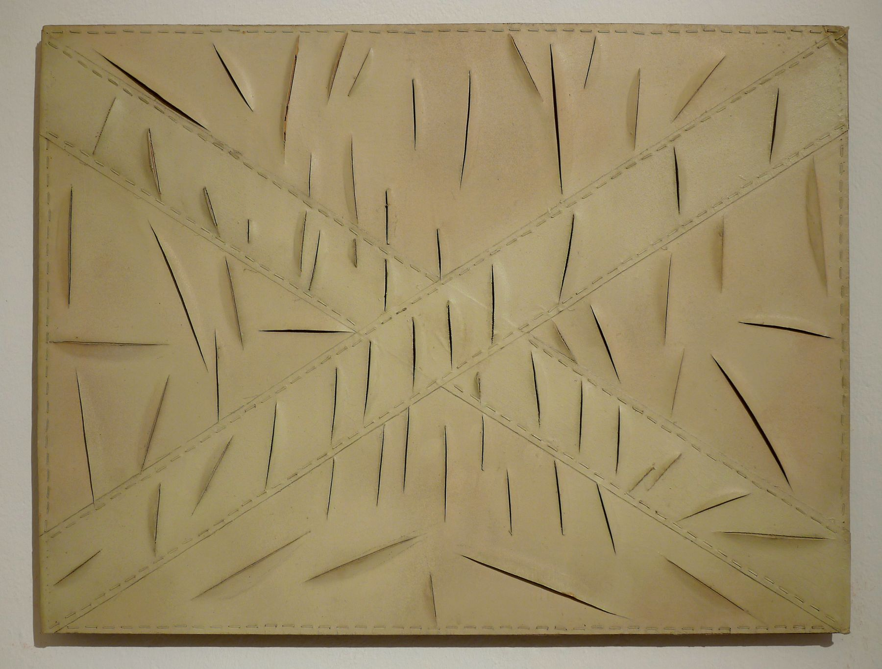 a painting with slashes by italian artist salvatore scarpitta