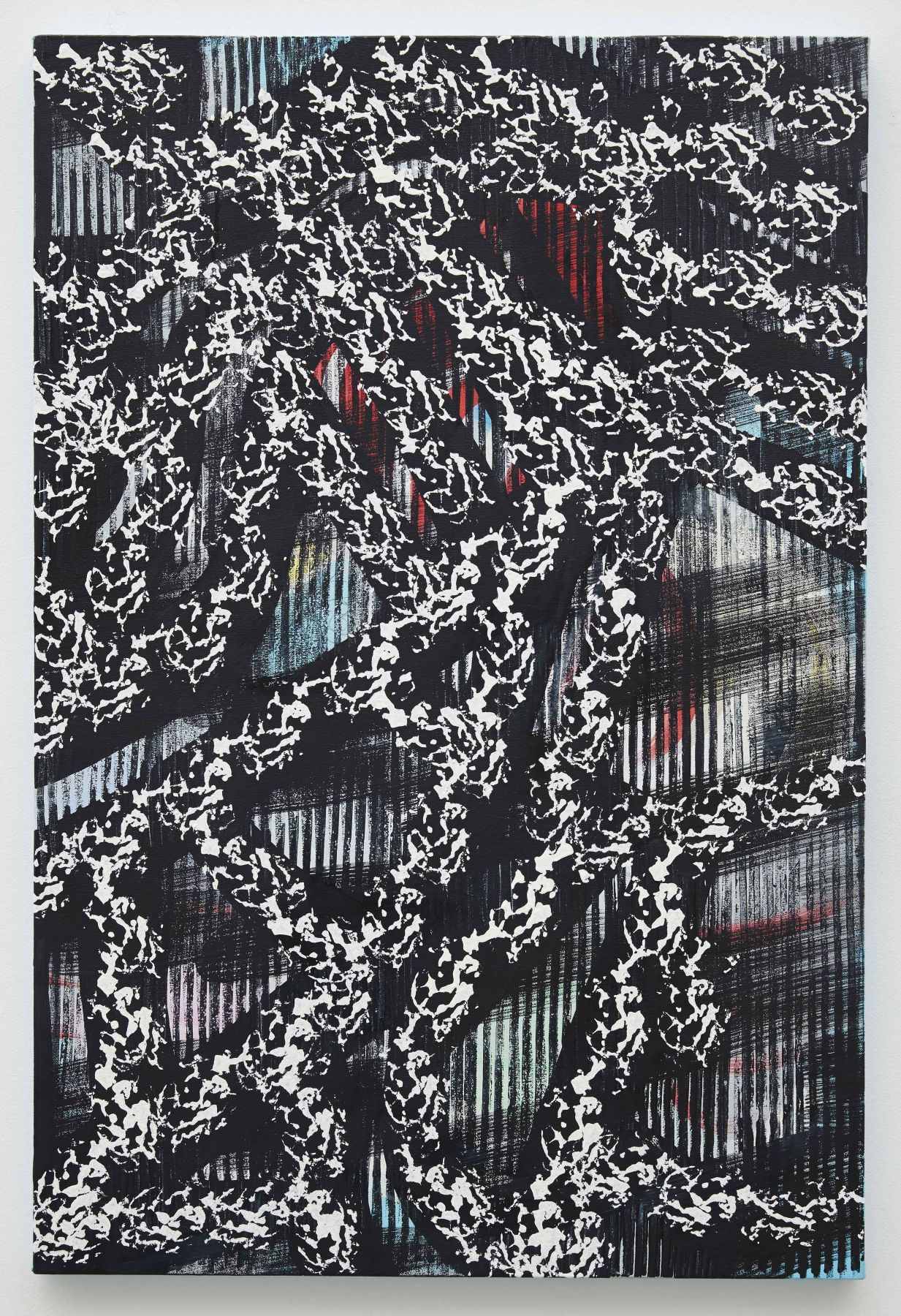 a dark black and white pattern painting by artist Julia Dault