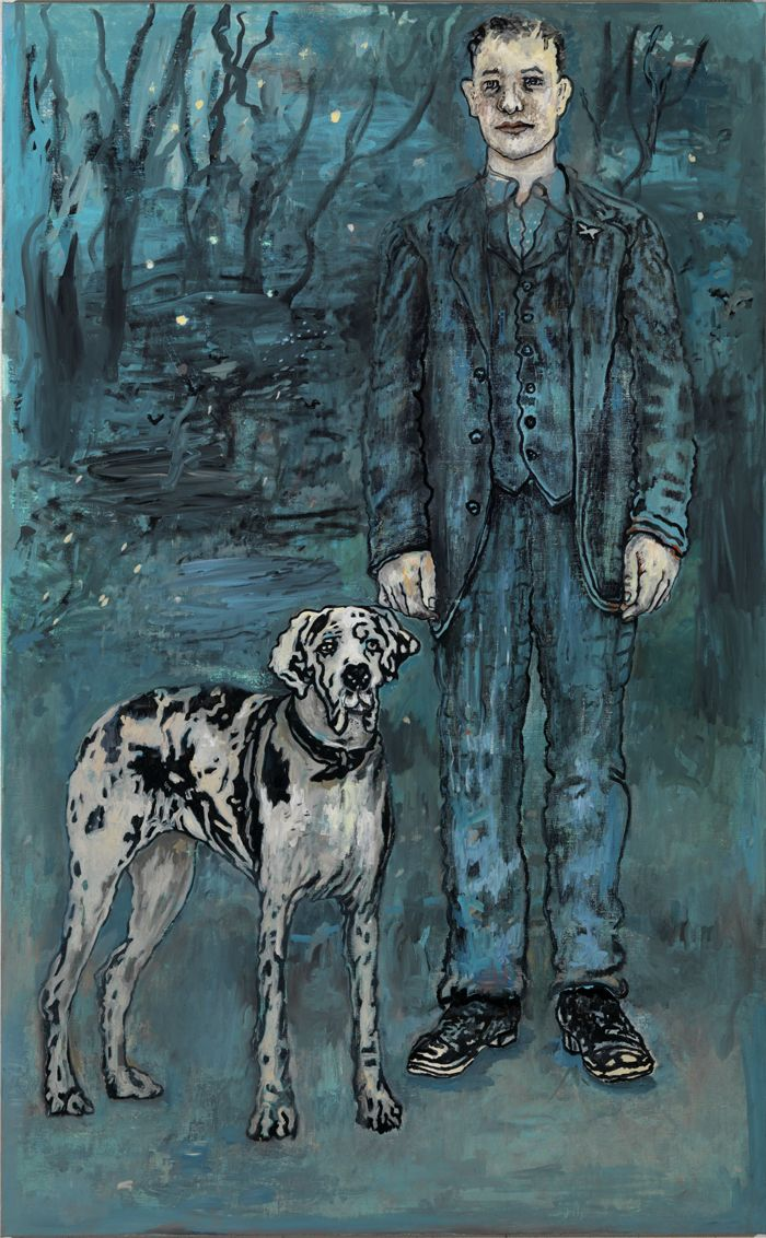 portrait of a man in blue with a dalmatian dog by hannah van bart