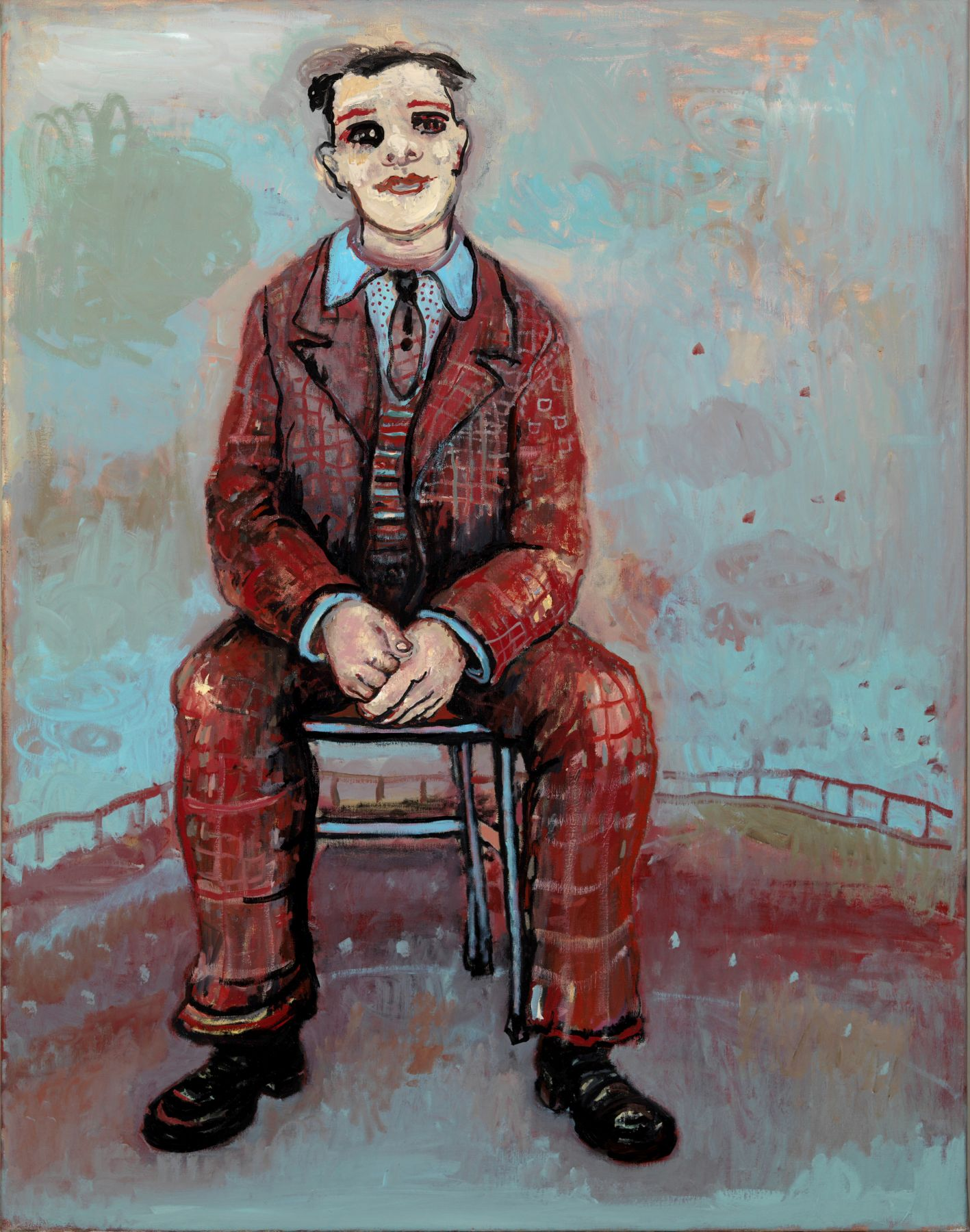 Painting of a seated man in a suit by dutch artist Hannah van Bart