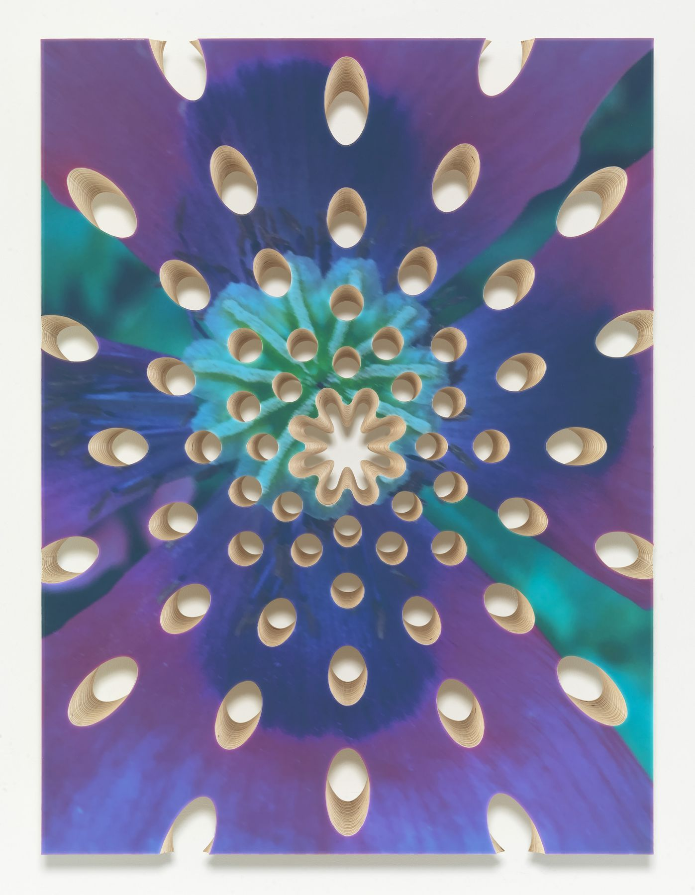 a resin painting by donald moffett in purples and blues reminisicent of a flower