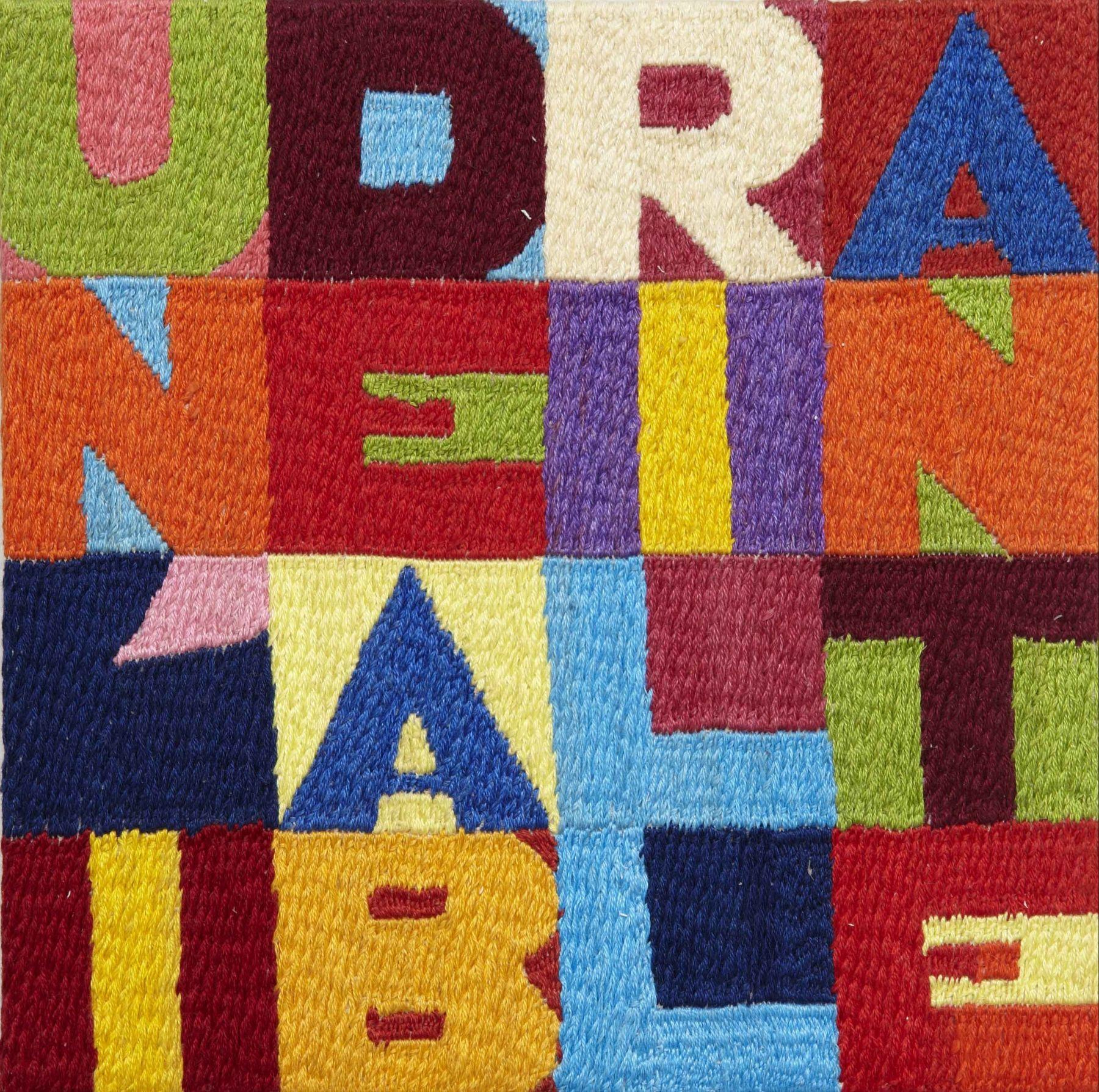 Un'idea Brillante, 1992, Embroidery on linen