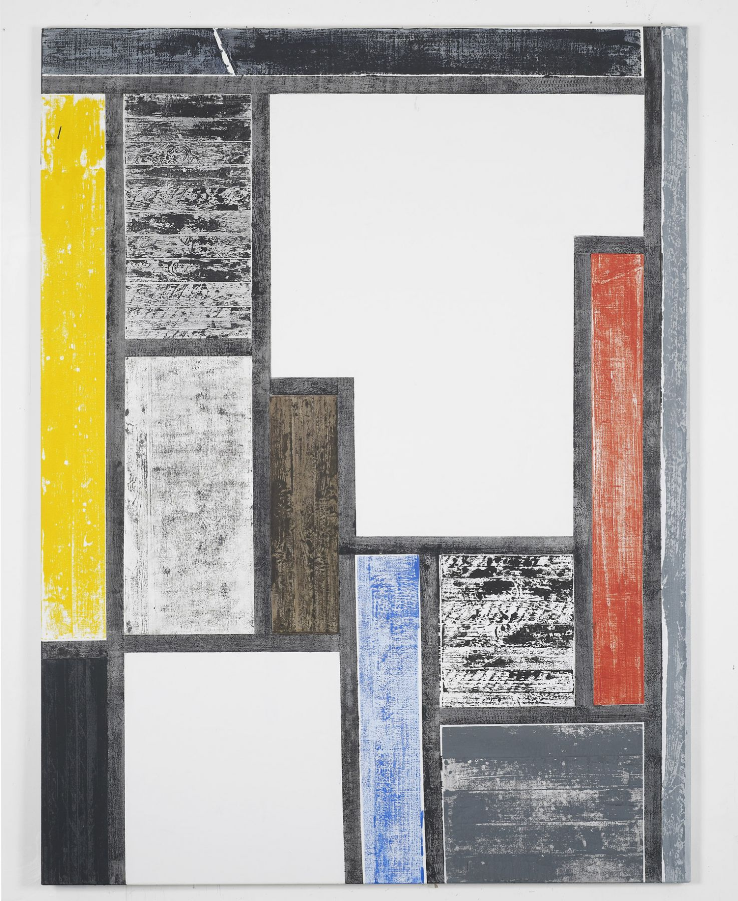 painting by melissa gordon with black, blue, red, yellow, and white rectangles