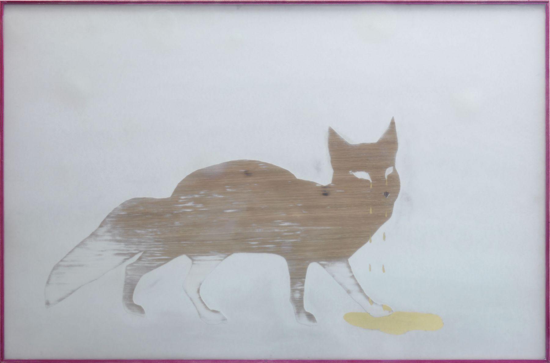 Untitled (Fox), 2009, MDF, veneer, spraypaint, glass, wood