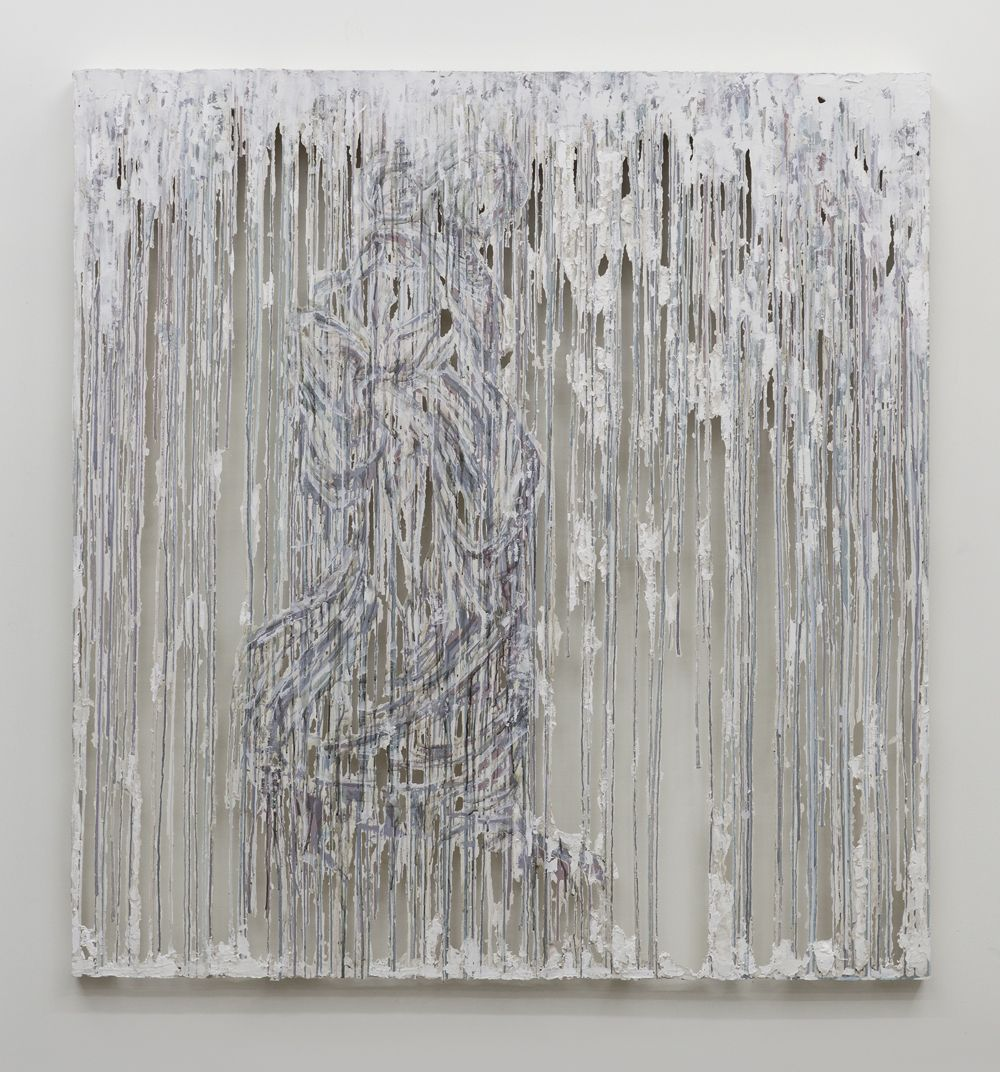 a drip wall panel by Diana Al-Hadid for sale in a Chelsea gallery