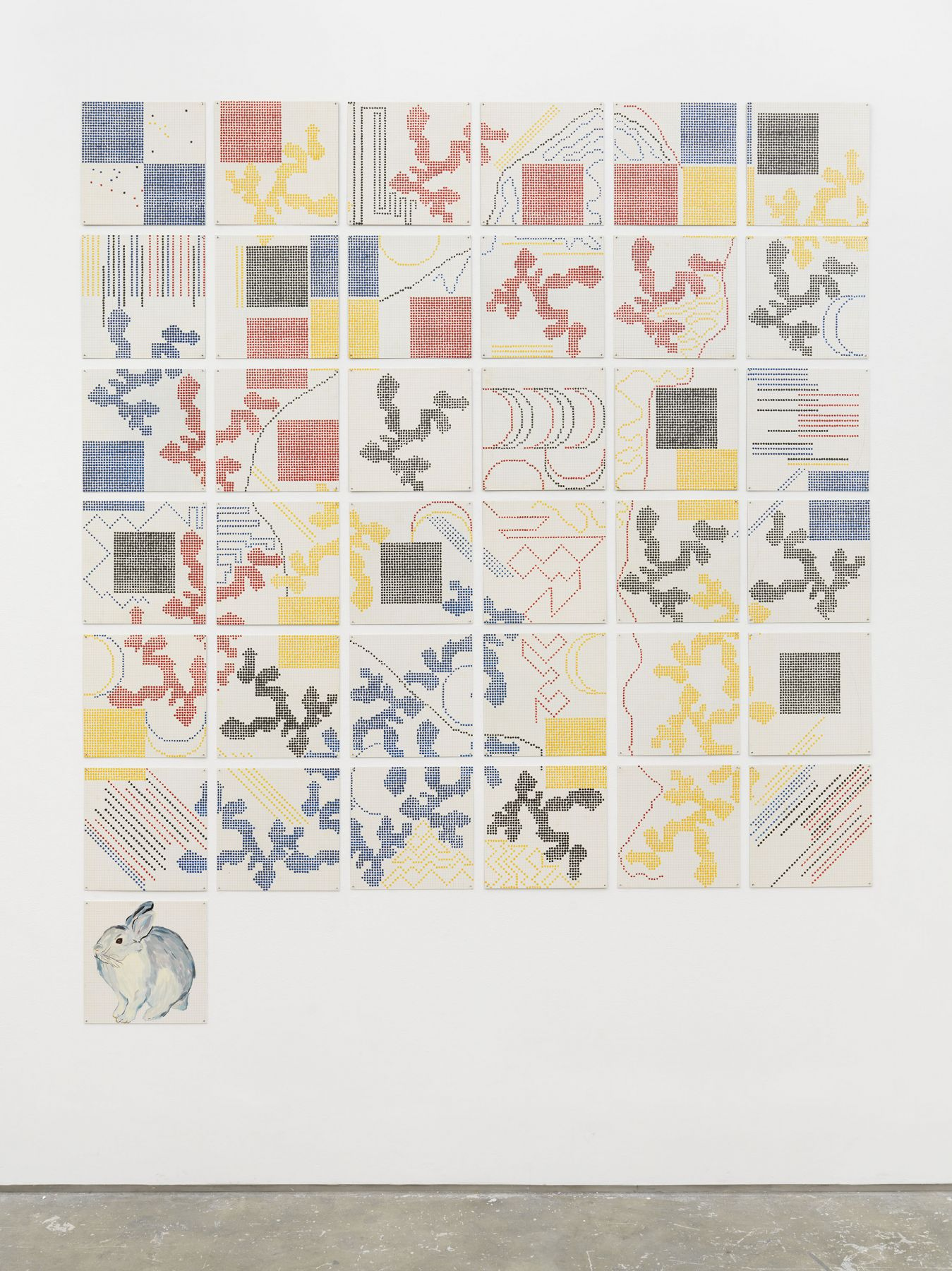 enamel tiles forming a formalist grid by Jennifer Bartlett
