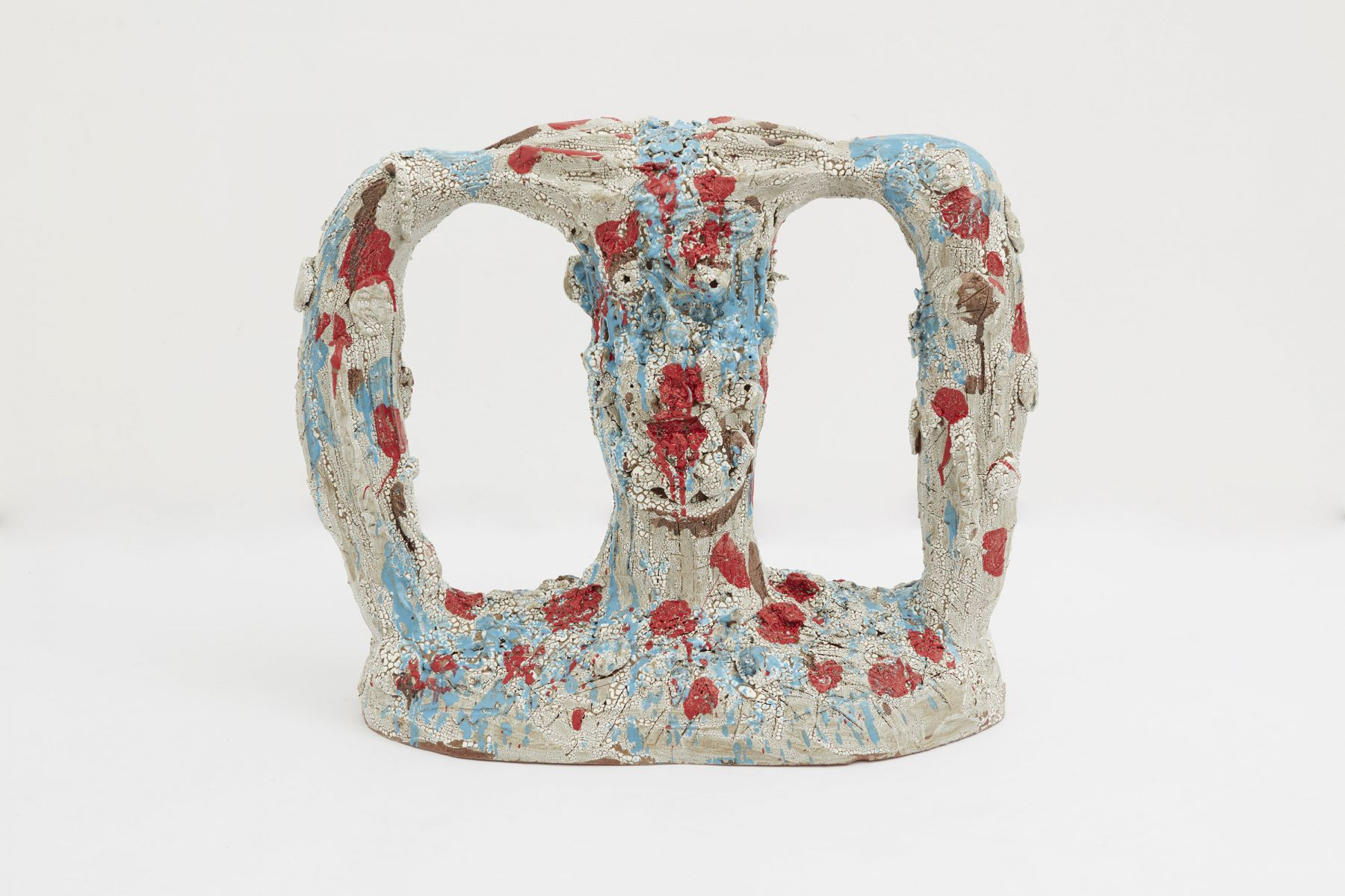 an abstract ceramic sculpture by william j. o'brien for sale in a chelsea art gallery