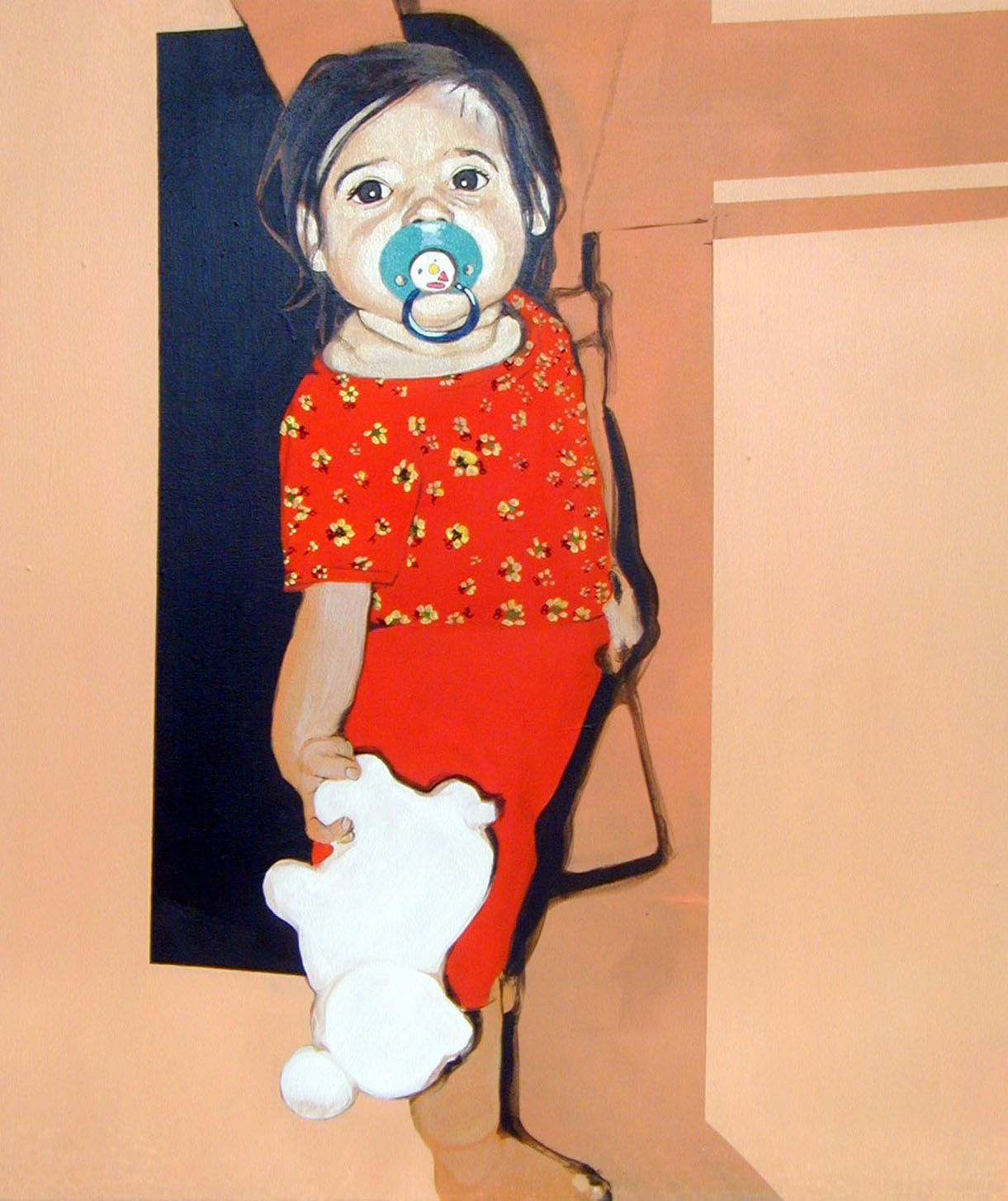 portrait of a toddler with pacifier and stuffed animal by franziska holstein