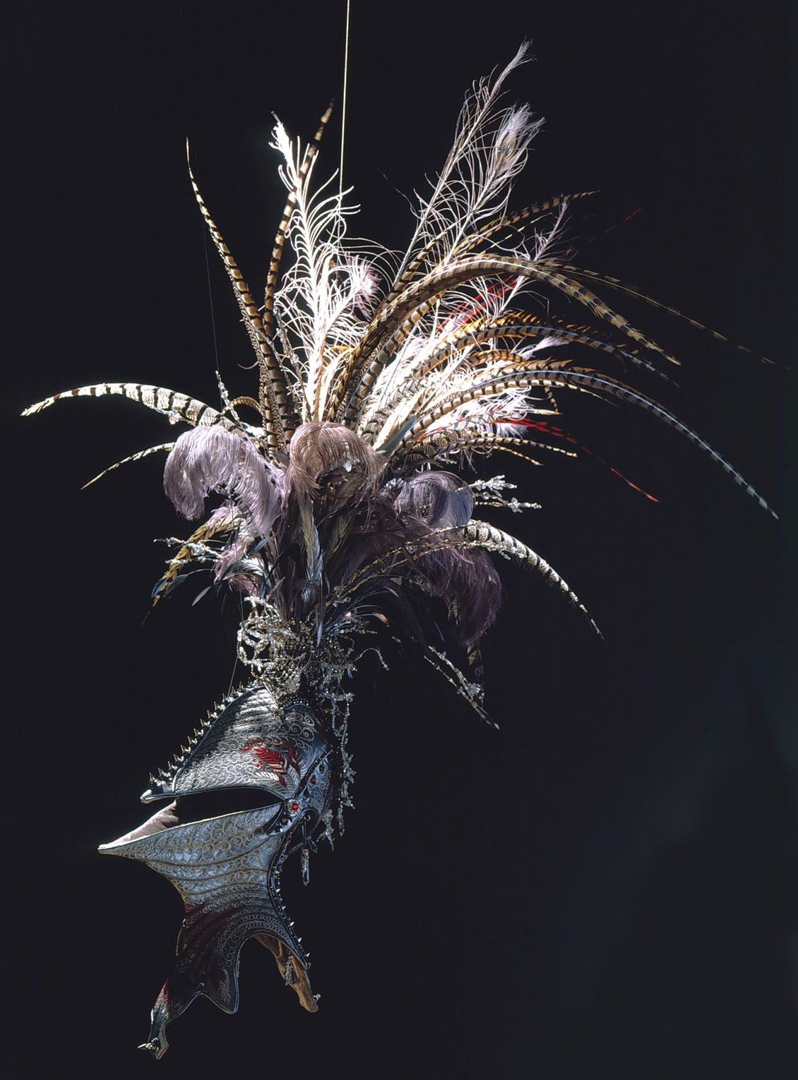 black embroidery with helmet and feathers by angelo filomeno
