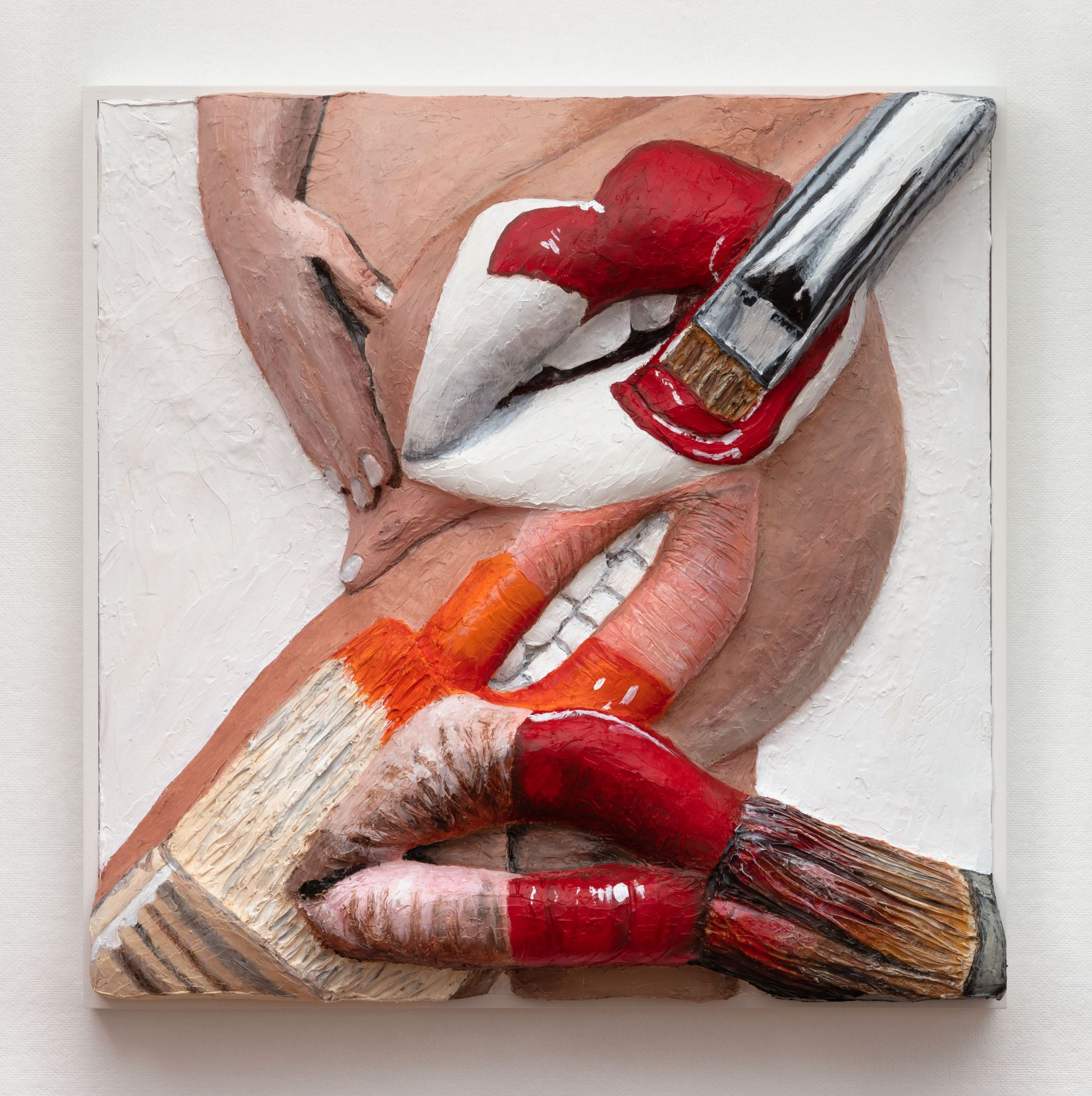 Extruded painting of paint brushes on a body with many lips by Gina Beavers
