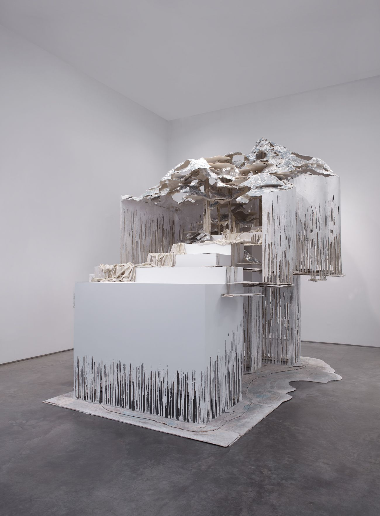 At the Vanishing Point, 2012, steel, polymer gypsum, fiberglass, wood, foam, aluminum foil, paint