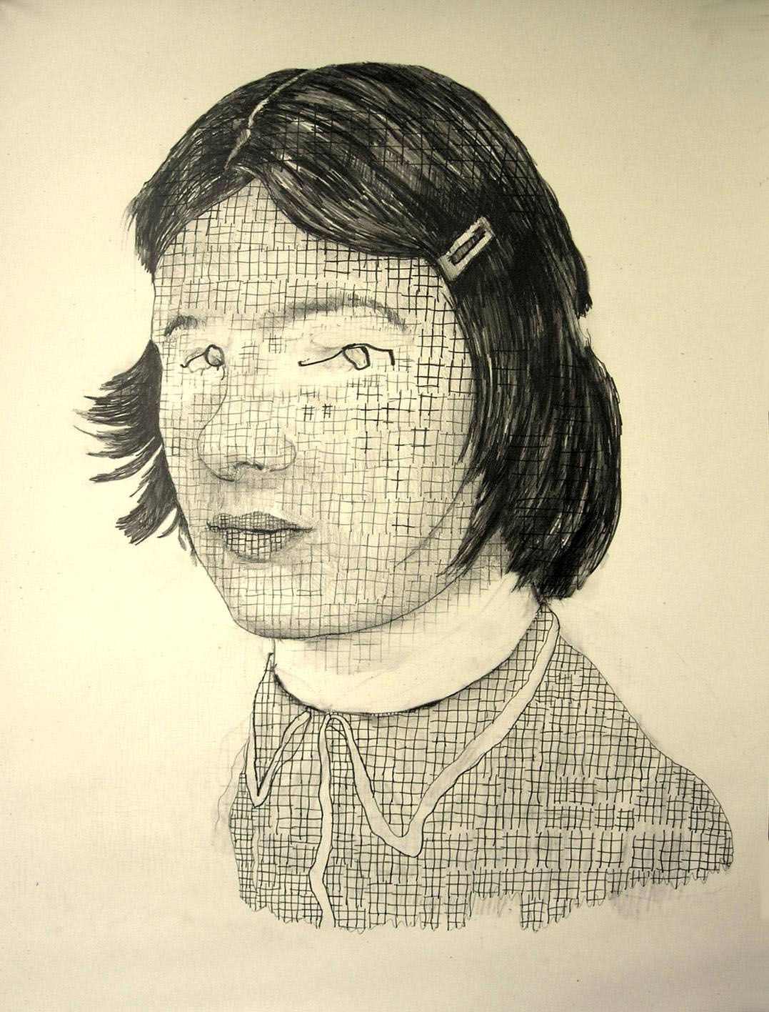 a drawing of a girl's face with a grid overlay by Dutch artist Hannah van Bart