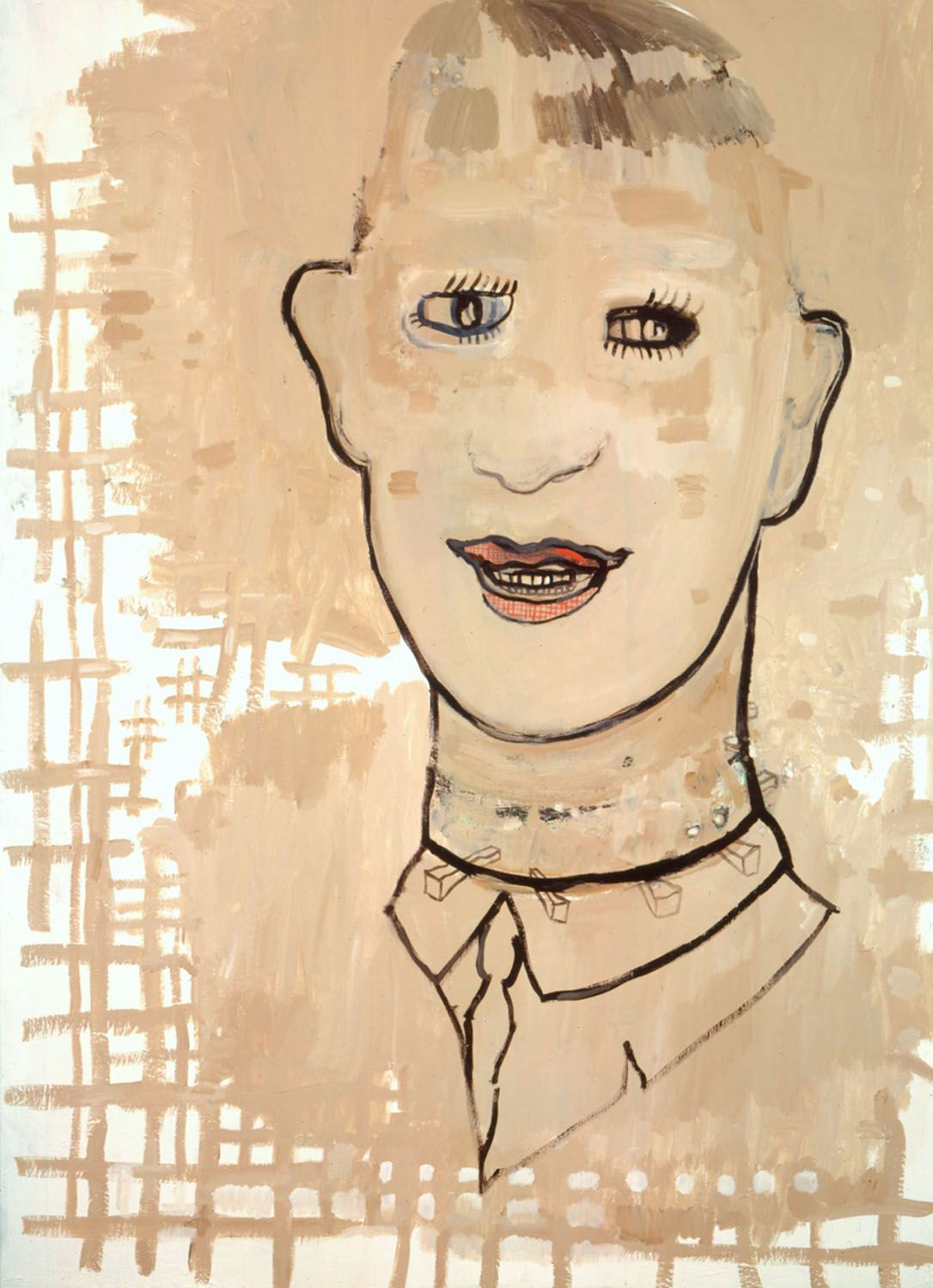portrait of a man smiling in beige by hannah van bart