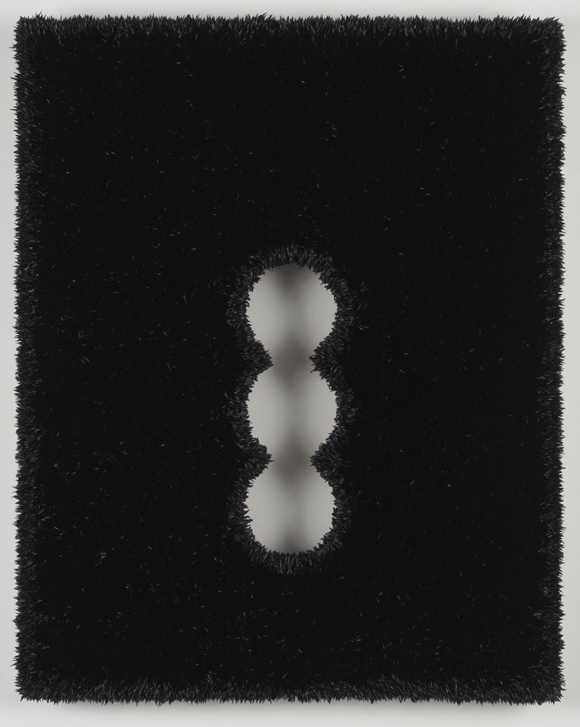 black linen panel with three holes by donald moffett