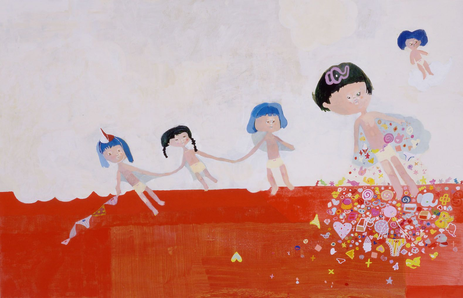 scene with five girls and red floor by chinatsu ban