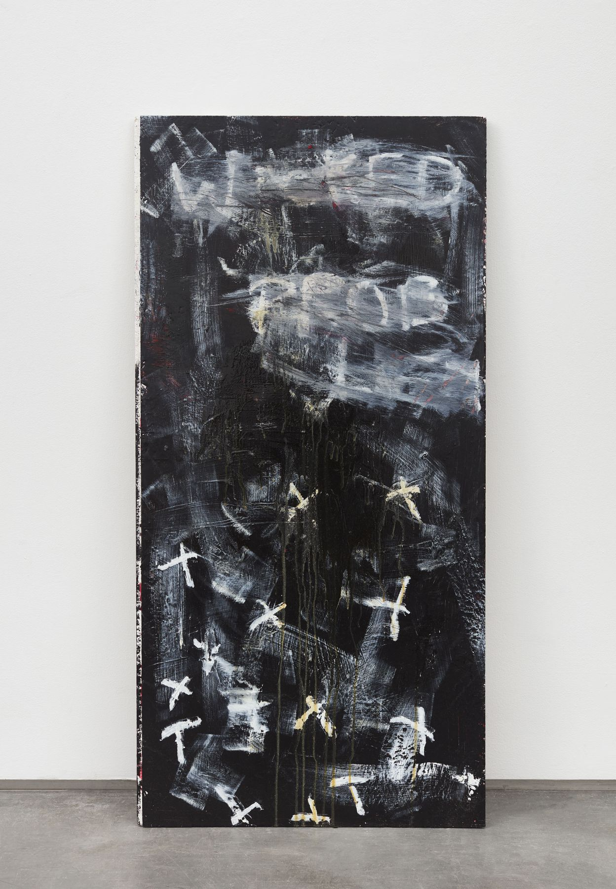 Large canvas painting with black acrylic paint by Allison Janae Hamilton