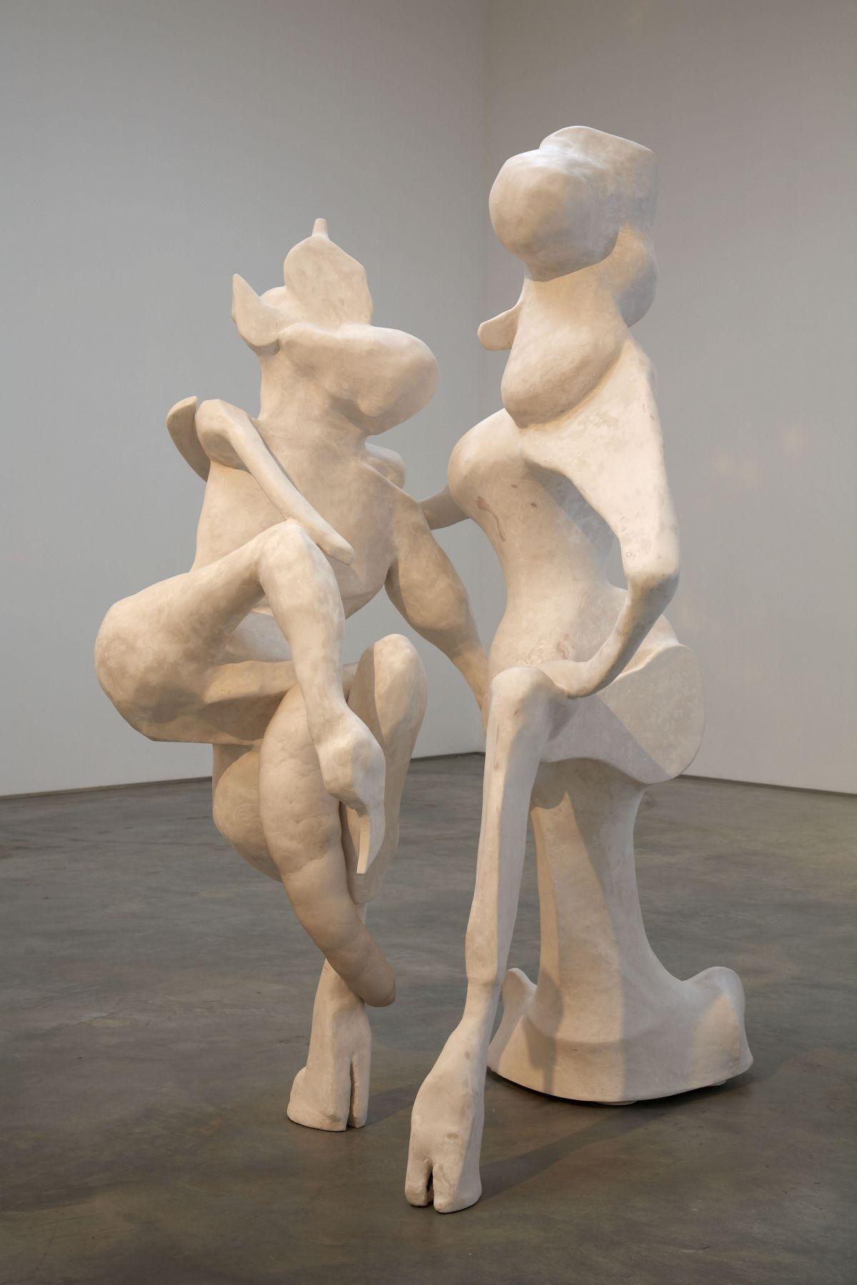 sculptures of two dancing satyrs by rachel feinstein