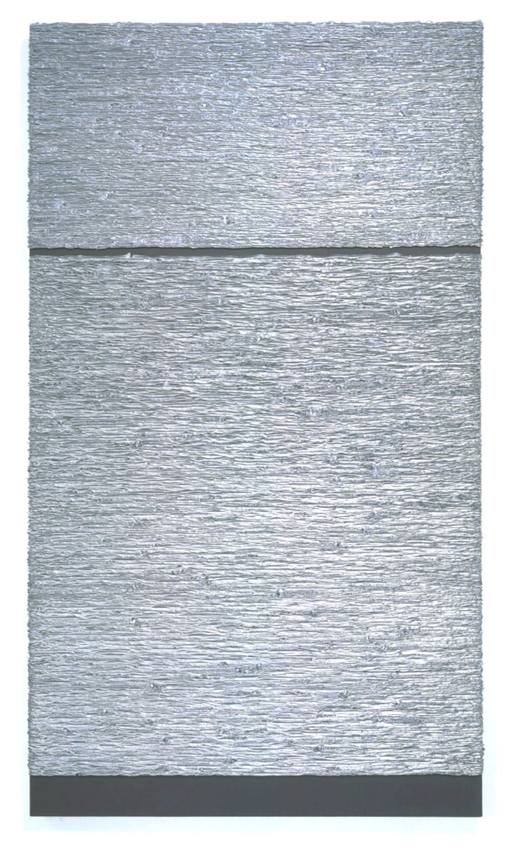 textured grey rectangle with split in upper half by donald moffett