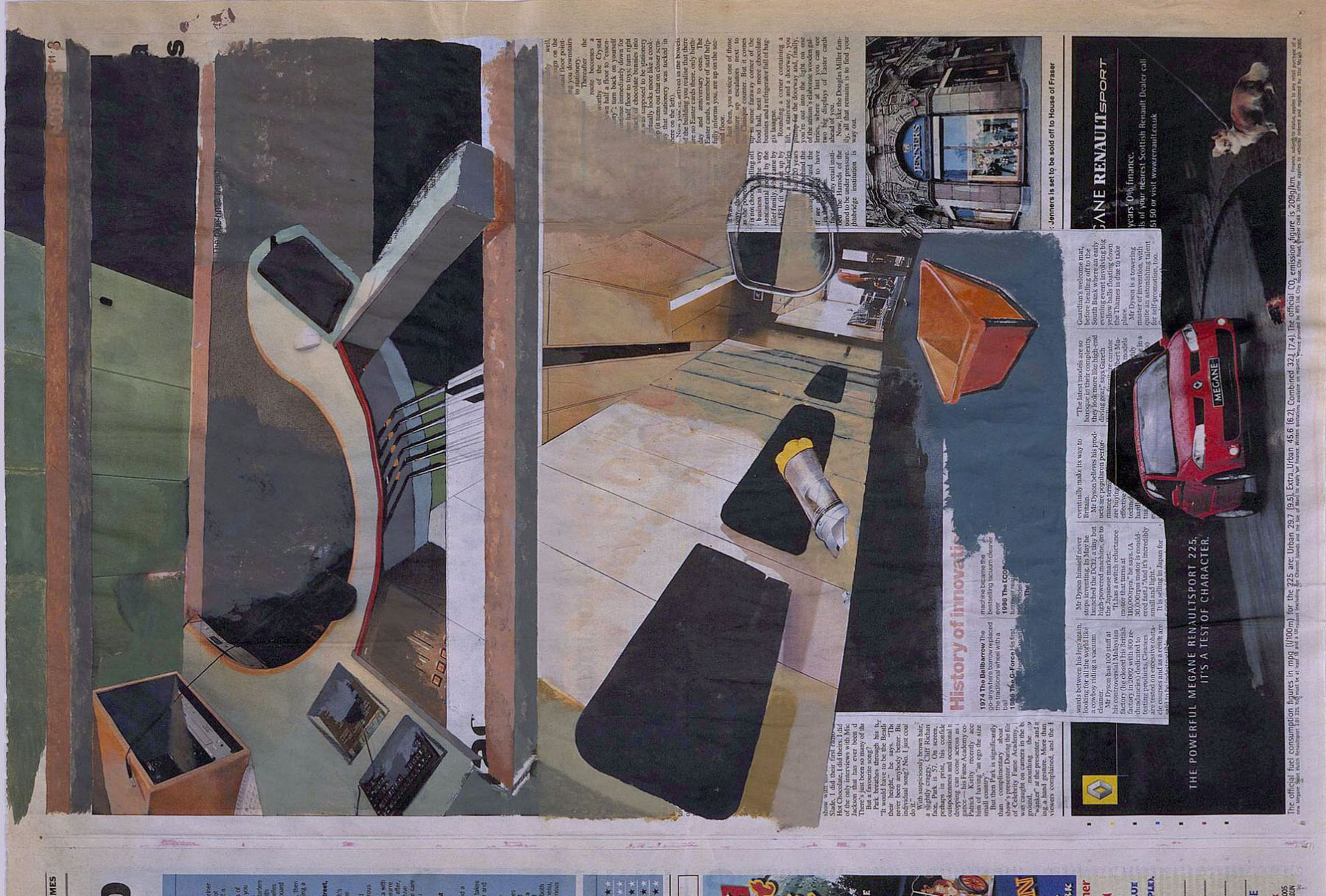 collage with newspaper clipping by tony swain