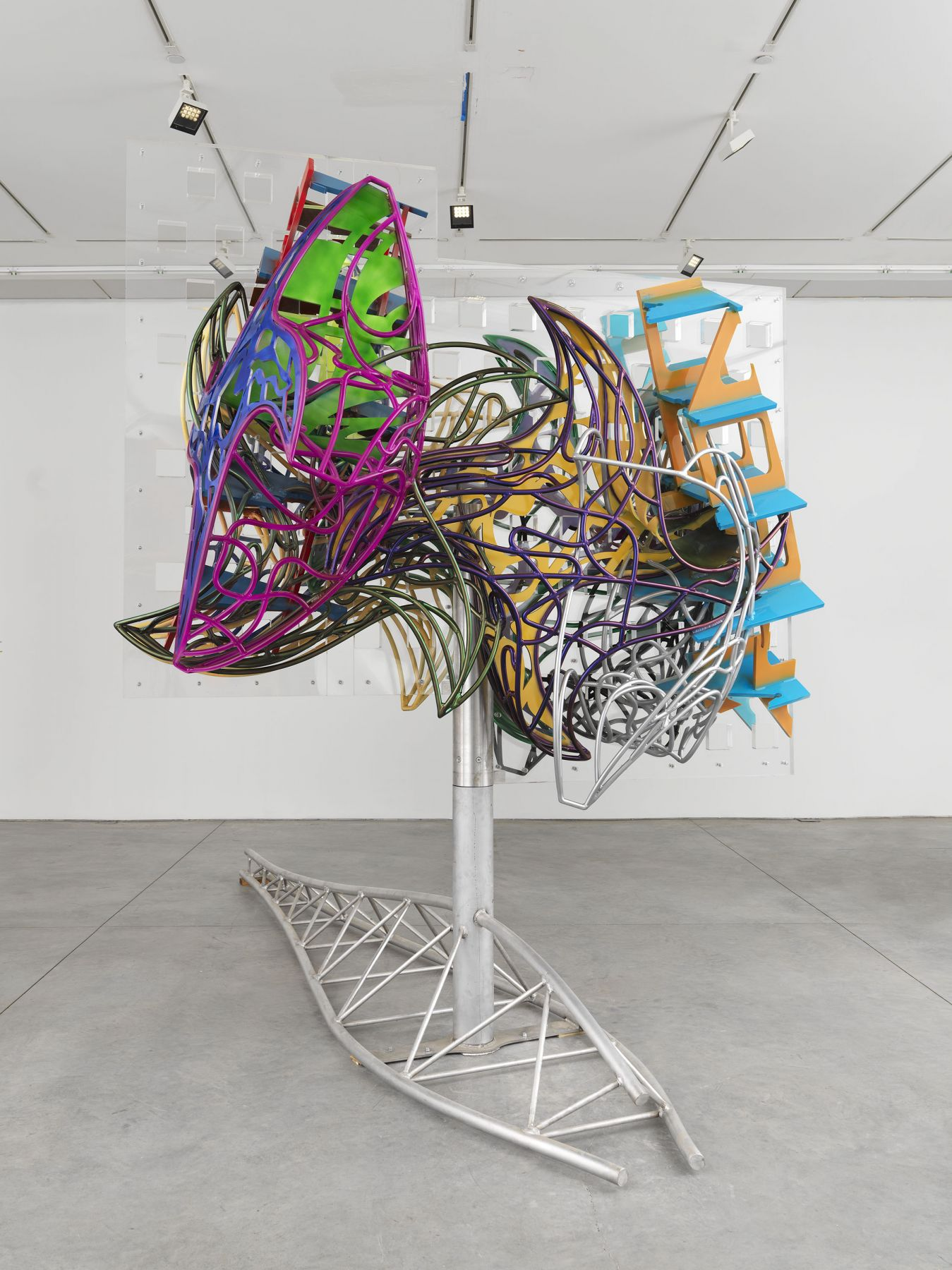 A large kinetic moving sculpture by frank stella available to buy in the gallery