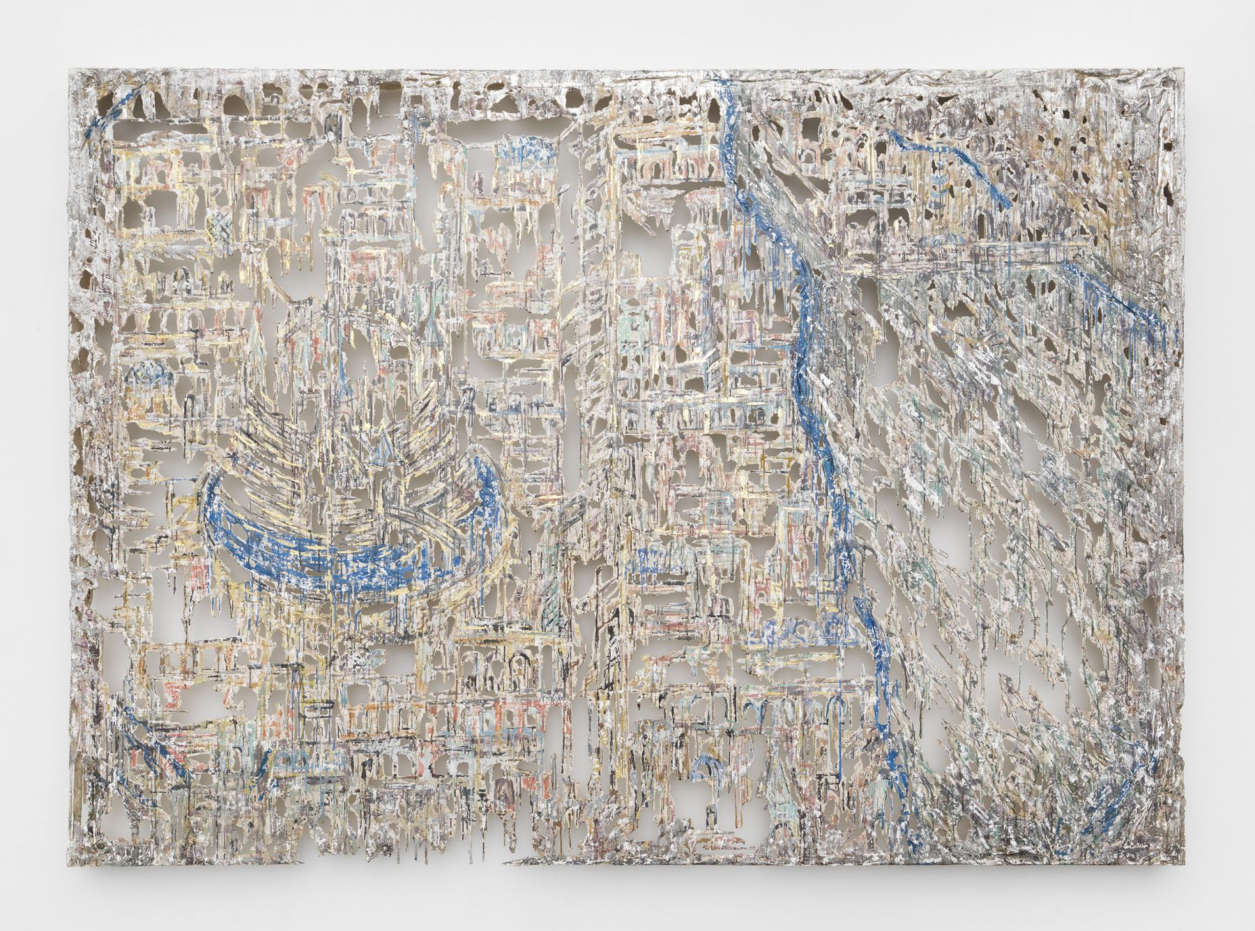 a dripping wall panel by Diana Al-Hadid in a Chelsea art gallery