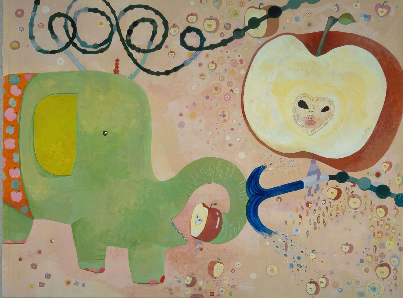 scene with elephant and anthropomorphized apple by chinatsu ban