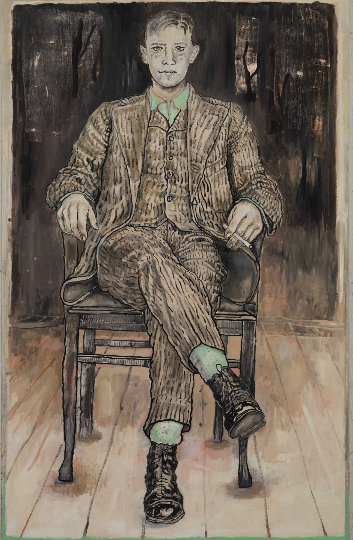 an oil painting of a man in a suit seated in a chair by contemporary artist Hannah van Bart