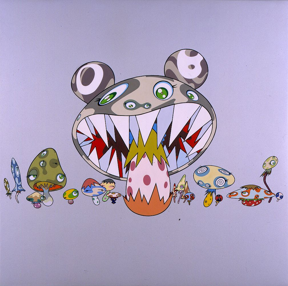 Kinoko, 2001, Acrylic on canvas mounted on wood