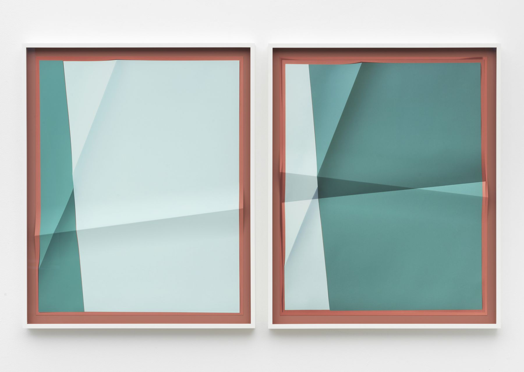 a folded print by John Houck as part of a fine art exhibition in New York