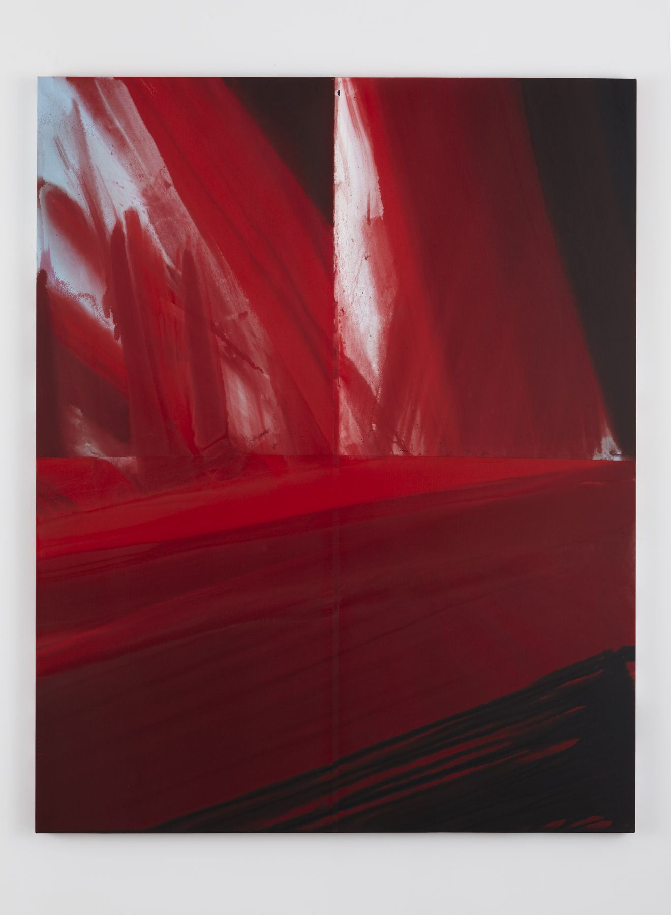 a gestural painting of red brushstrokes by barnaby furnas
