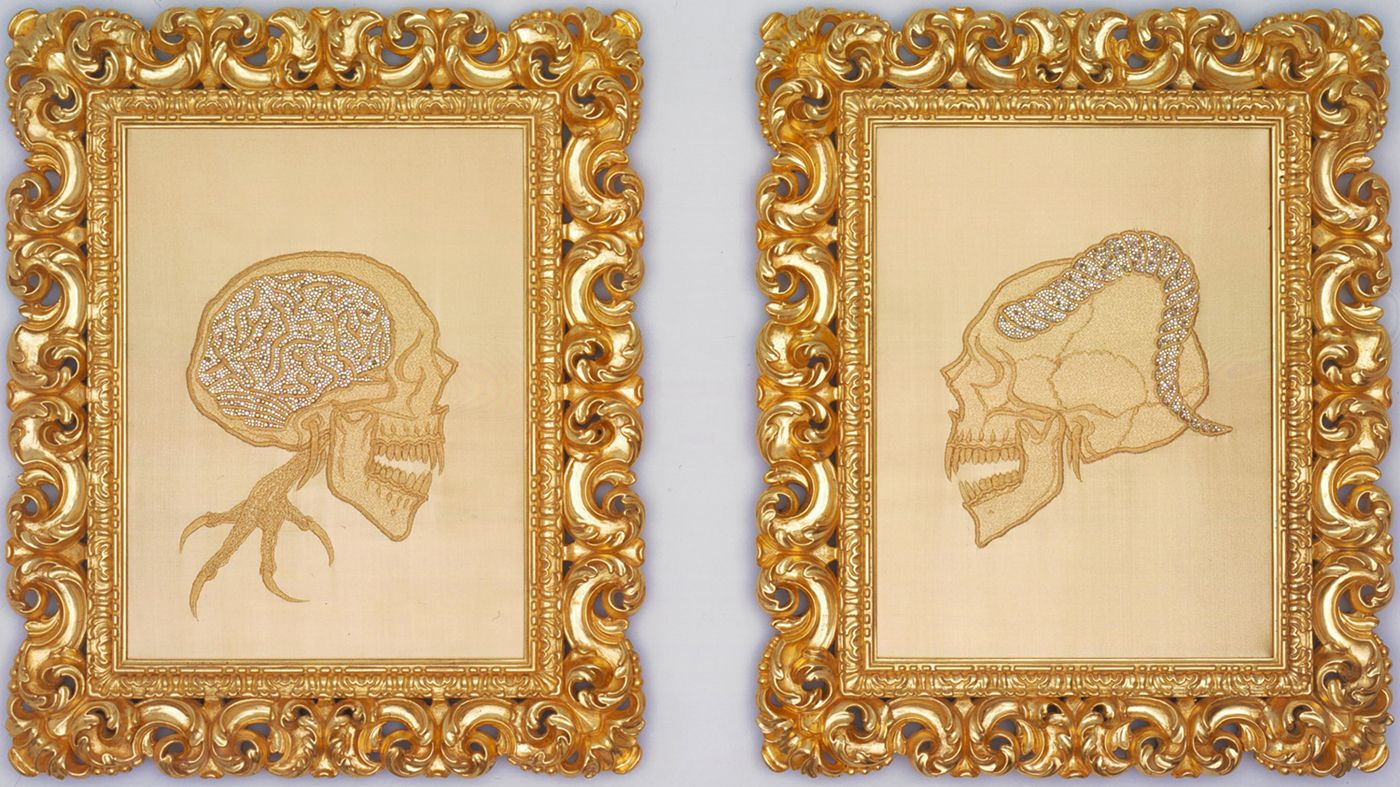 Diptych with two skeletons by Angelo Filomeno