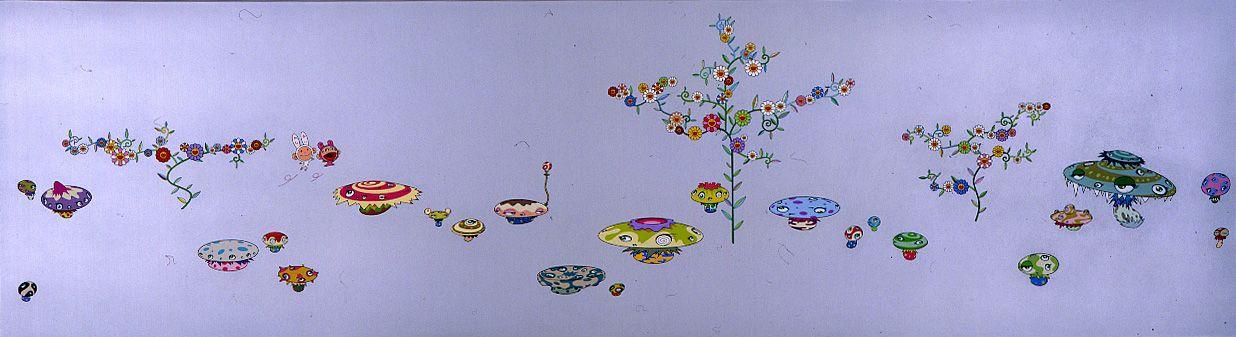 Soutatsu Garden, 2001, Acrylic on canvas mounted on wood