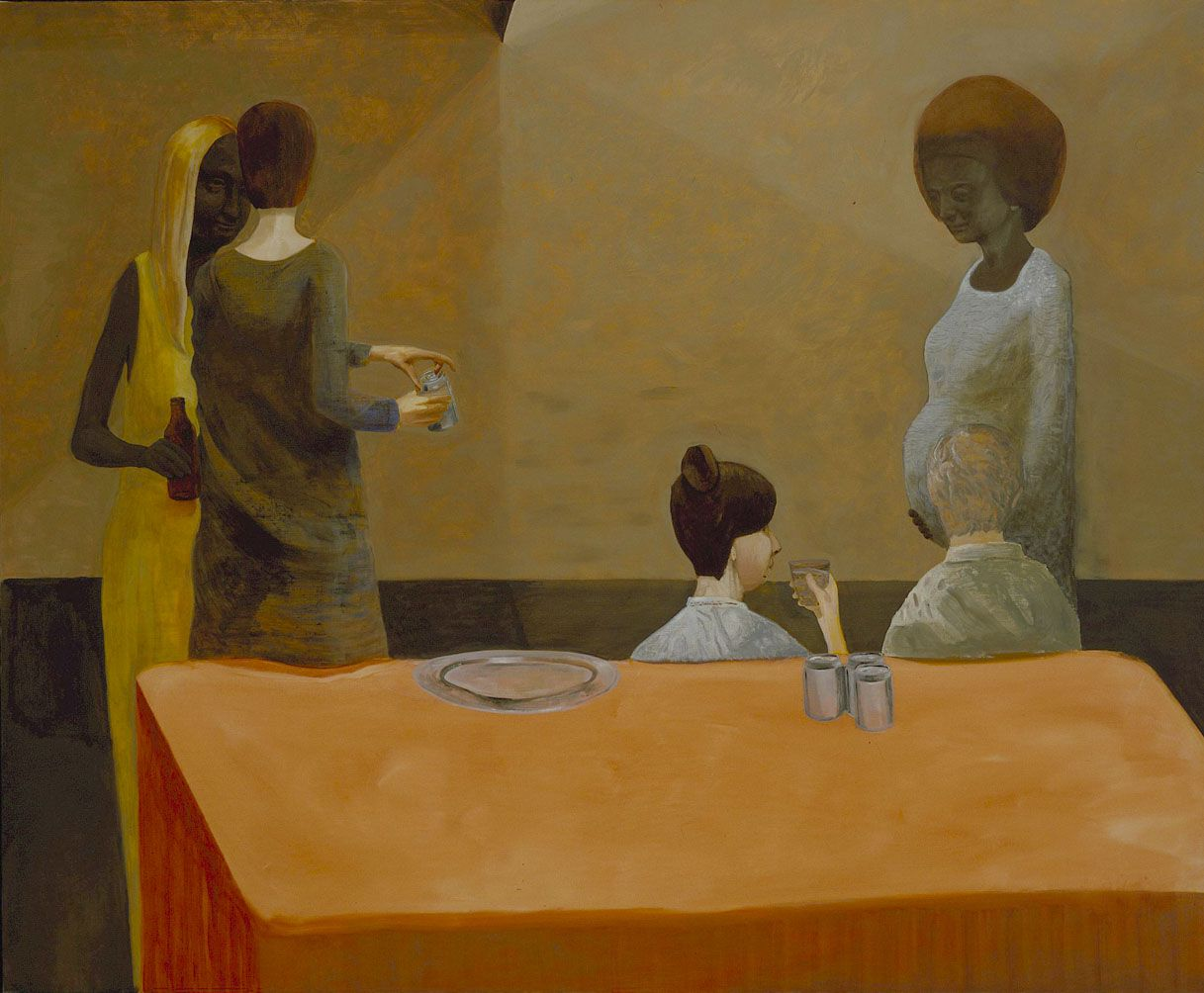 painting of four people sitting at a table with an orange tablecloth by jesse chapman