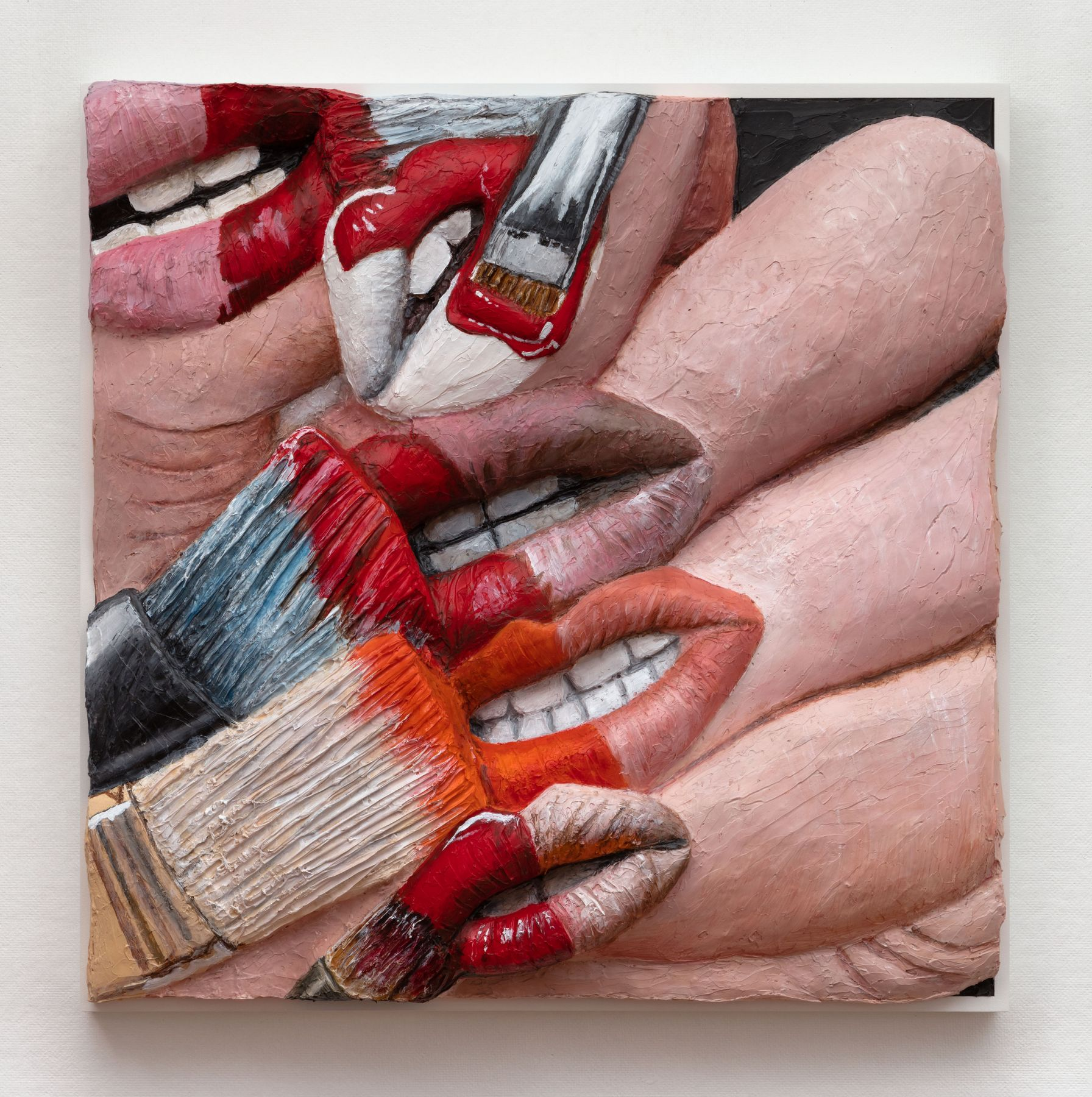 Extruded painting of paint brushes on nails which are lipsby Gina Beavers