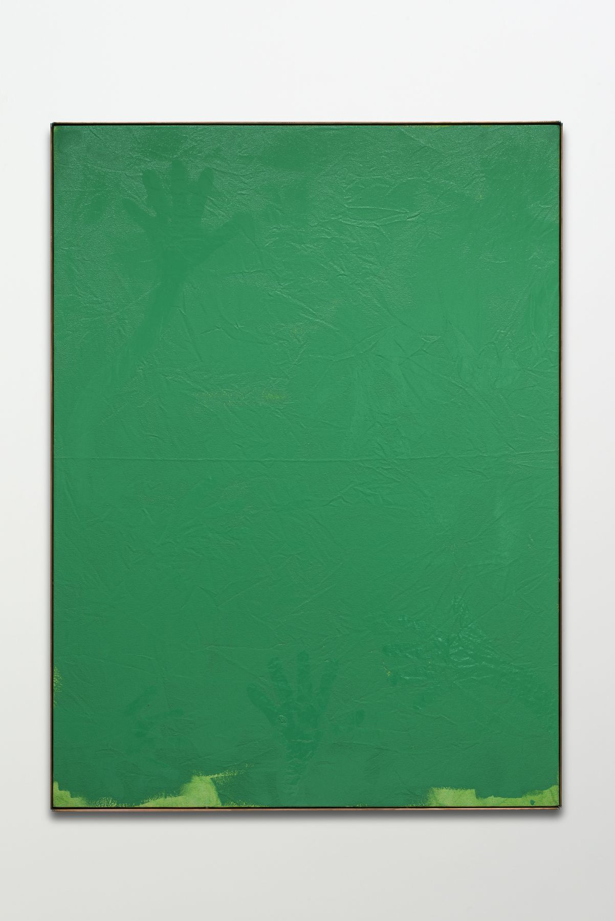 green painting with a handprint by los angeles based artist dashiell manley