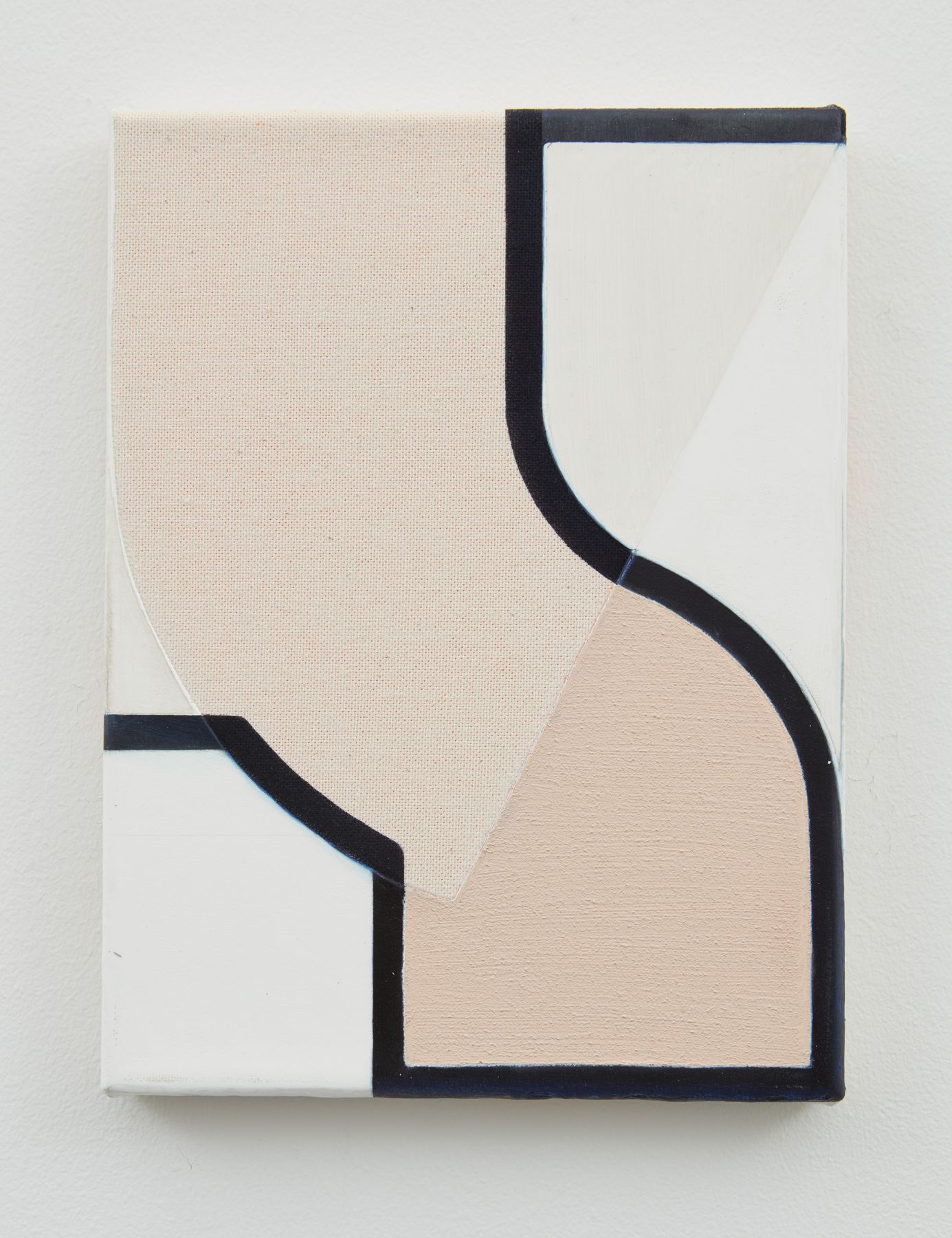 A pink and white abstract painting by Svenja Deininger