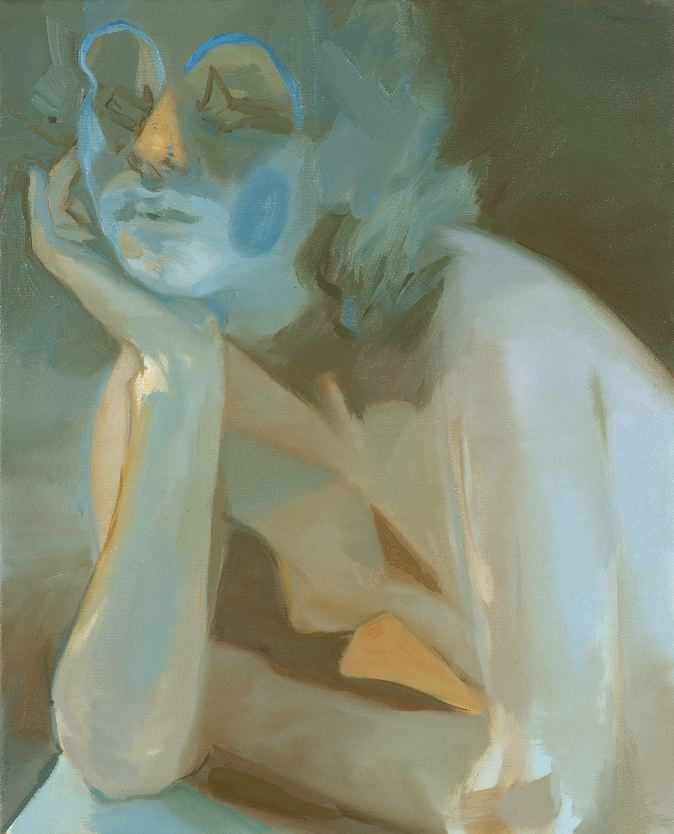 portrait of a woman in blue by kaye donache