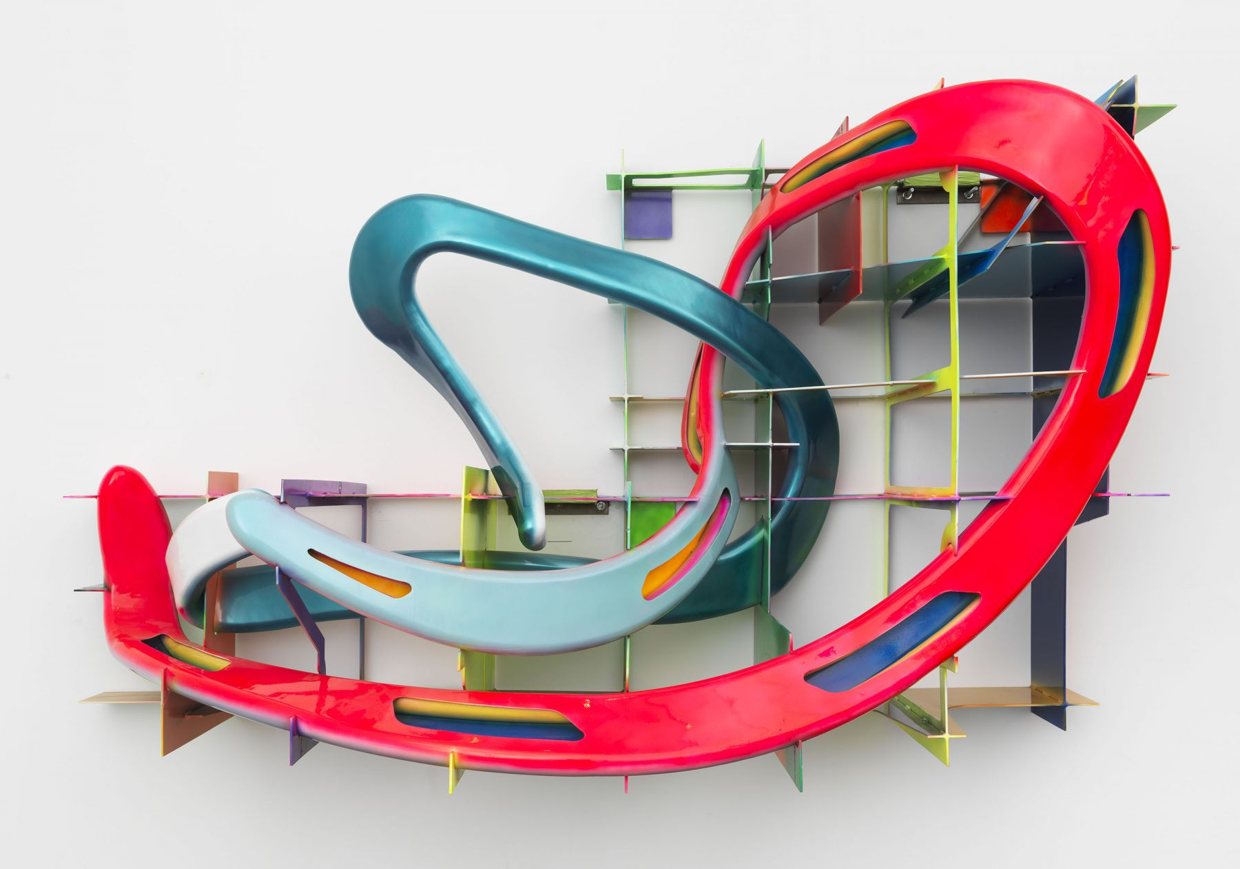 Leeuwarden II, a colorful neon sculpture of twisting lines by Frank Stella