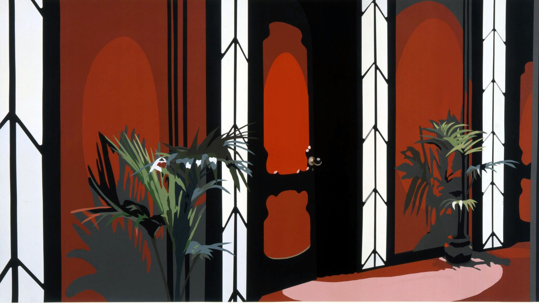 Red interior with plants by Francesca Gabbiani