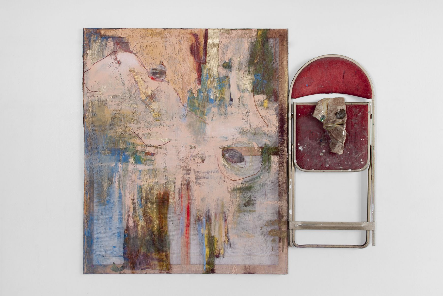 a sculpture by jessica jackson hutchins featuring a chair and a painting
