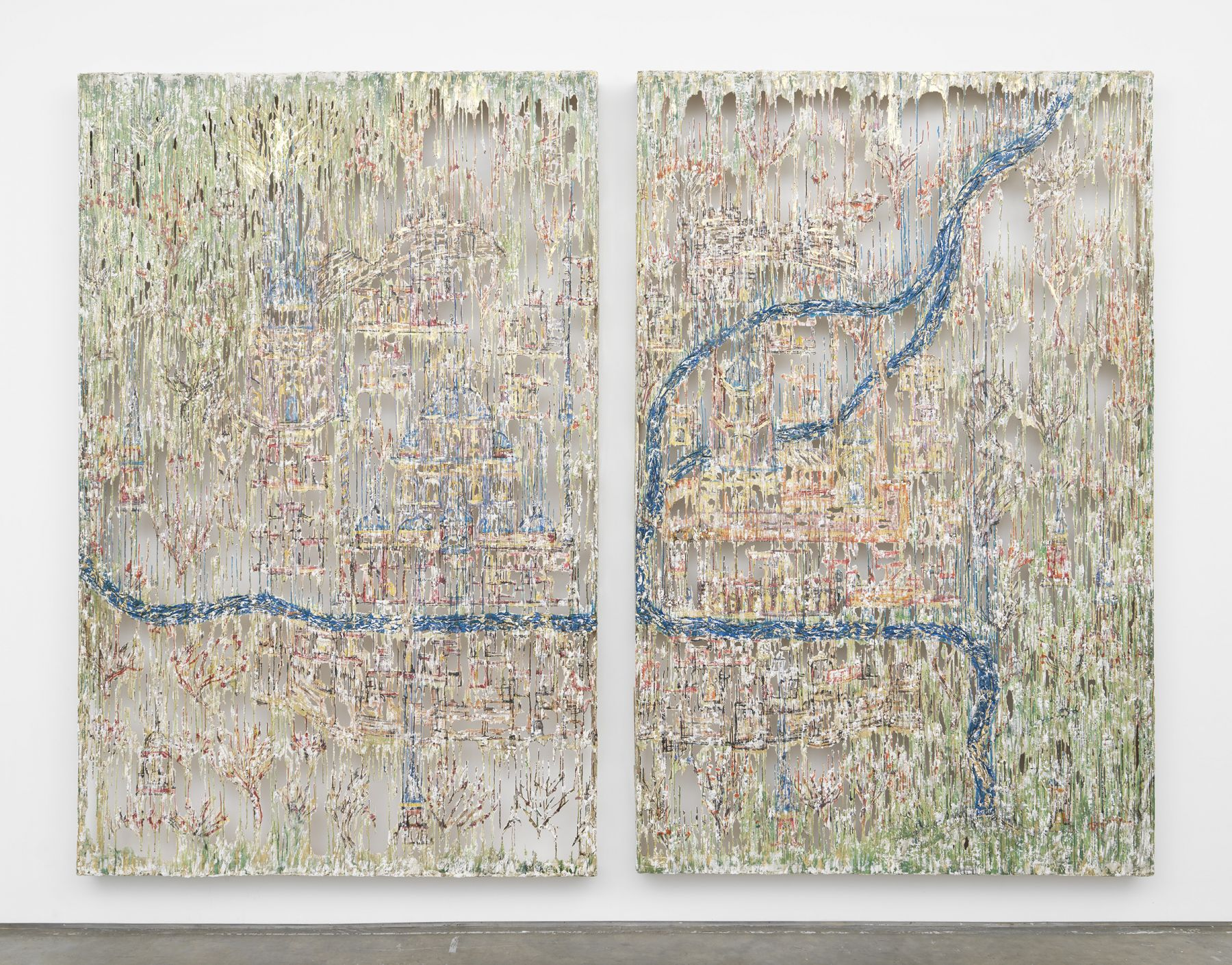 a colorful pair of drip panels made of fiberglass and polymer gypsum by Diana Al-Hadid