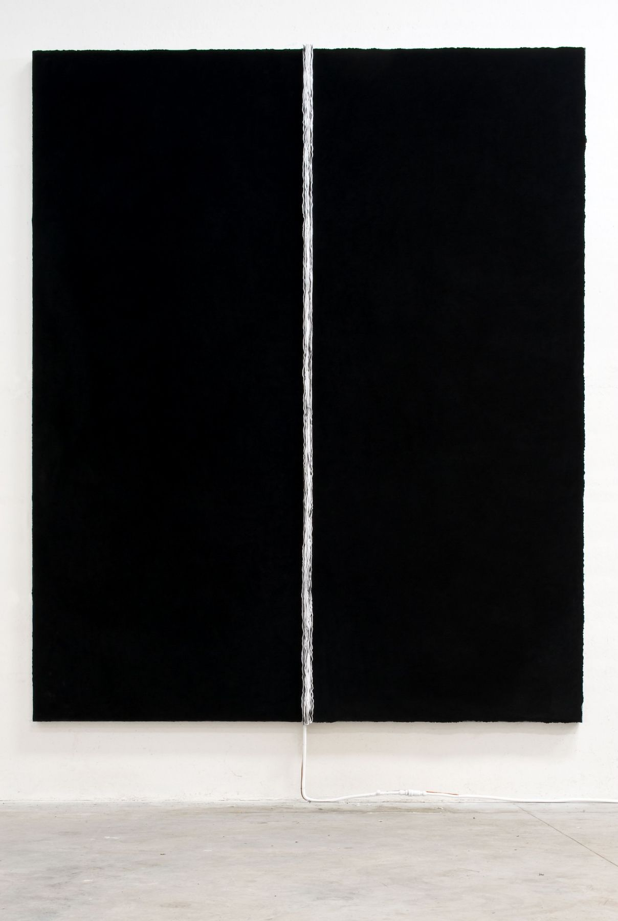 black painting with white stripe by pier paolo calzolari