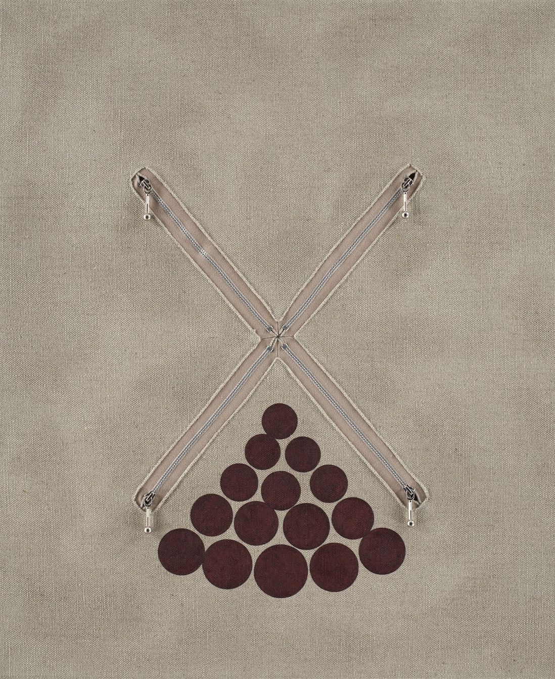 linen panel with red dots and zippers in an X pattern by donald moffett