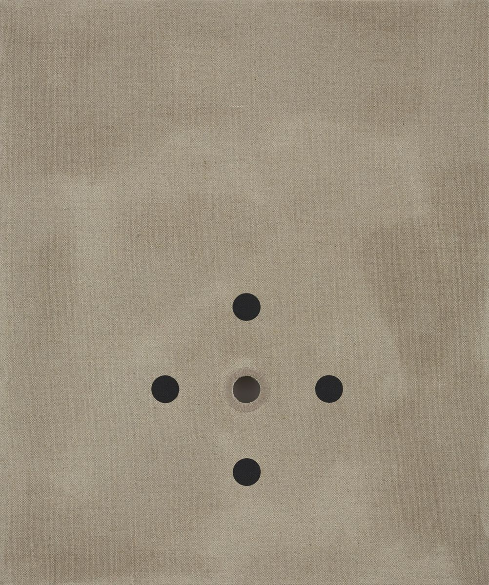 linen panel with five holes by donald moffett