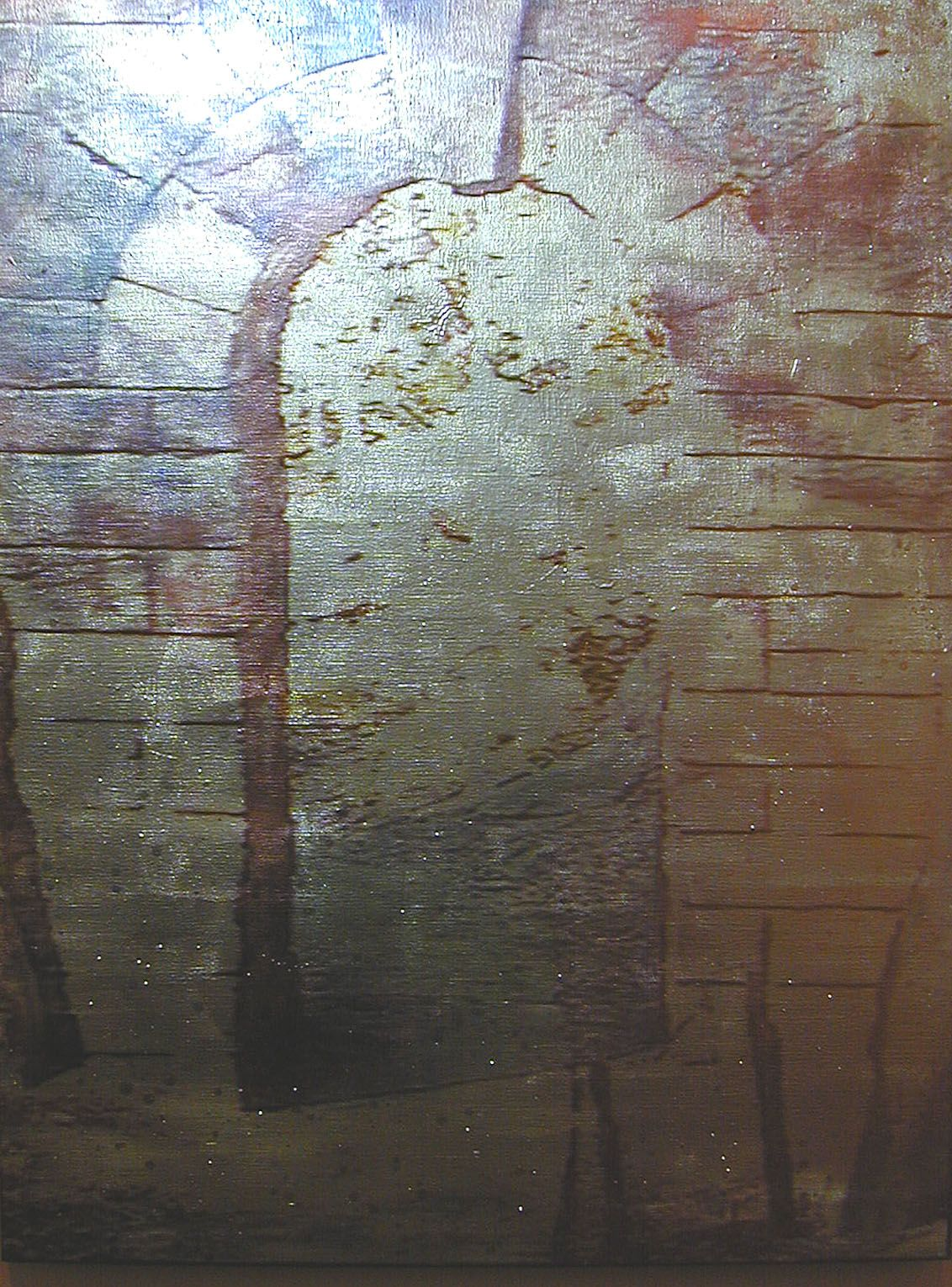 Gold / Passage, 2003 , Video projection, oil and enamel on linen