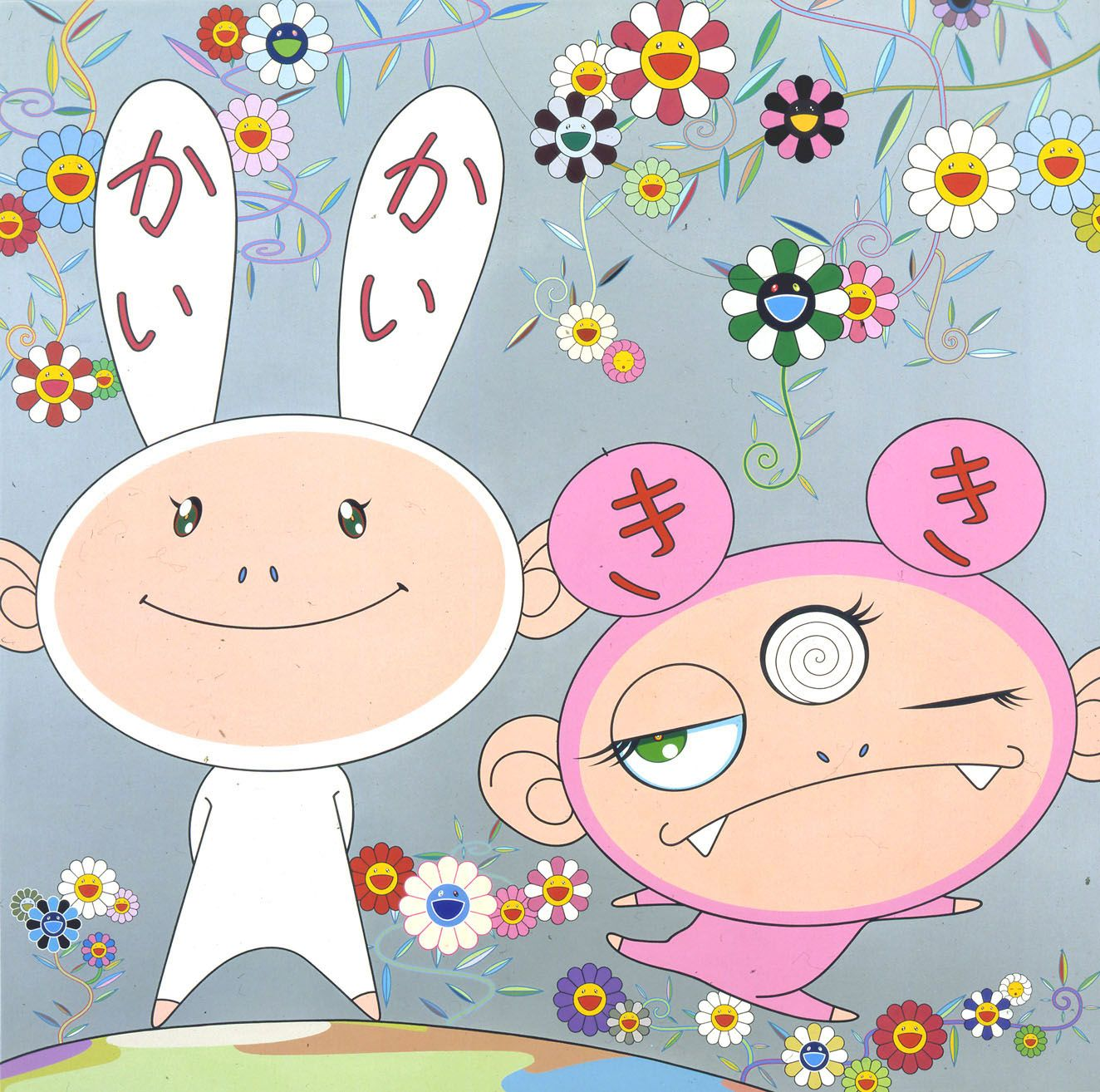 two figures with bunny ears by takashi murakami