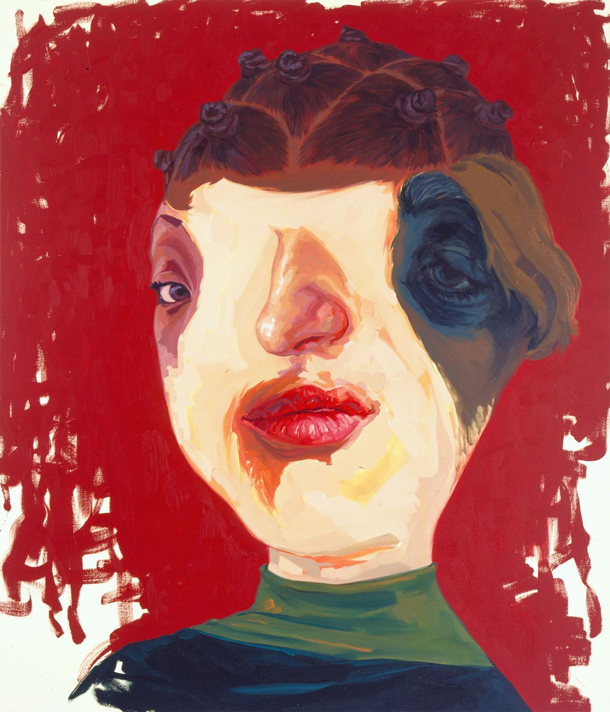 portrait of a woman with a red background by yi chen