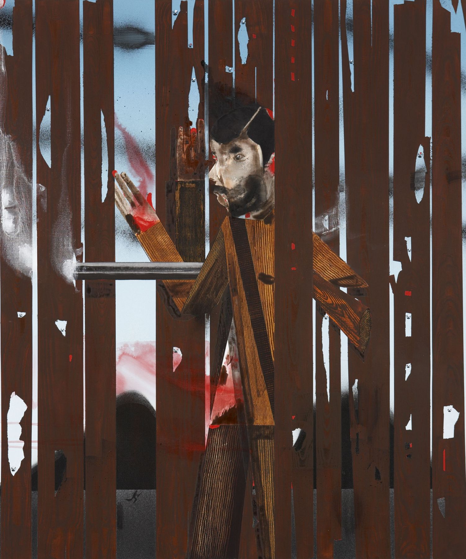 painting of a gunman behind a fence by barnaby furnas