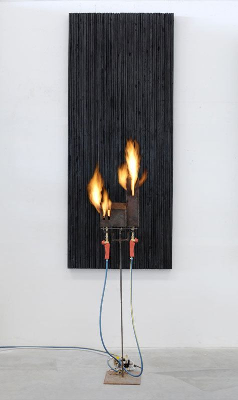 a contemporary sculpture by Pier Paolo Calzolari on view in a Chelsea, New York art gallery